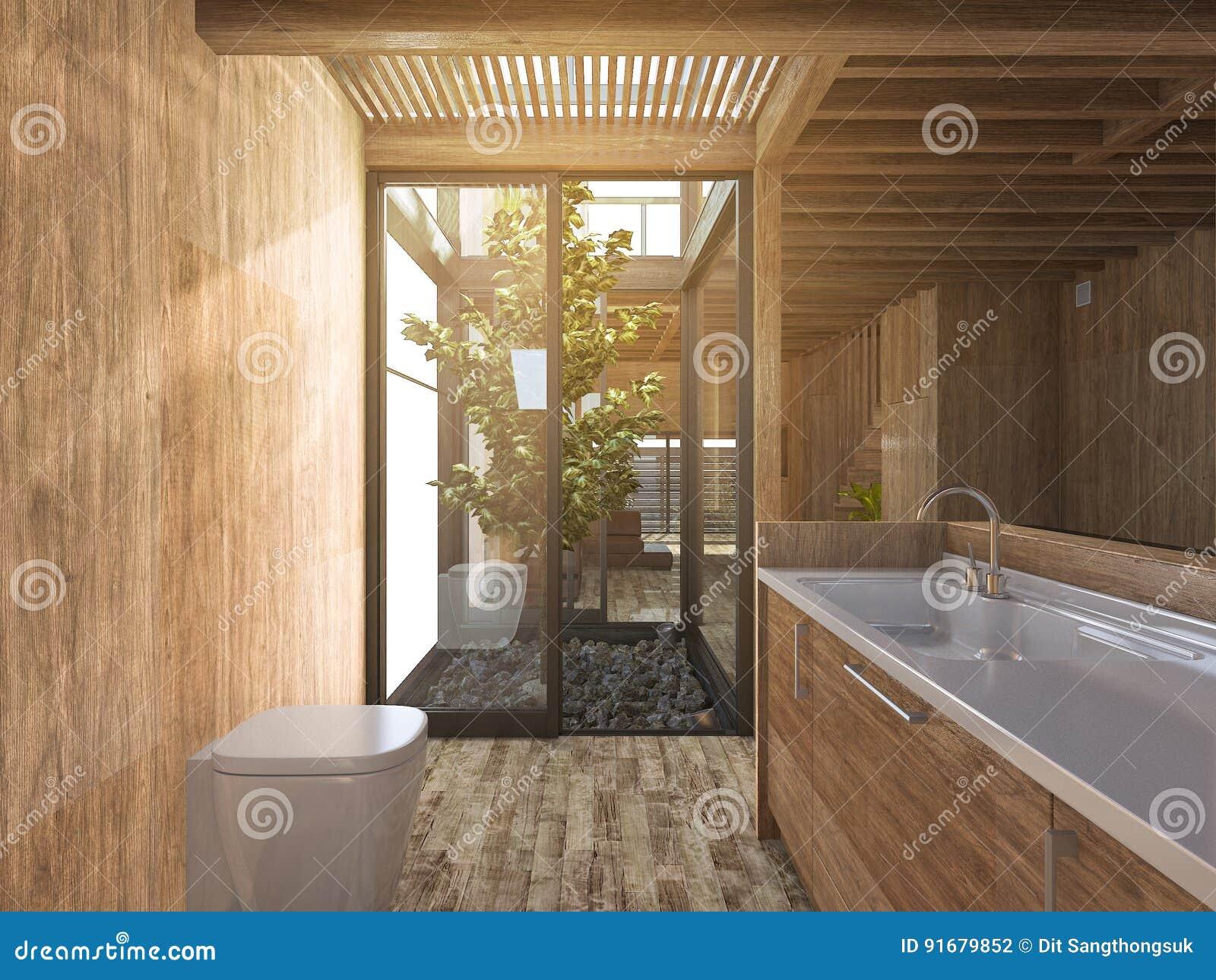 3d Het Teruggeven Houten Badkamers Dichtbij Japanse Zenrotstuin In ...