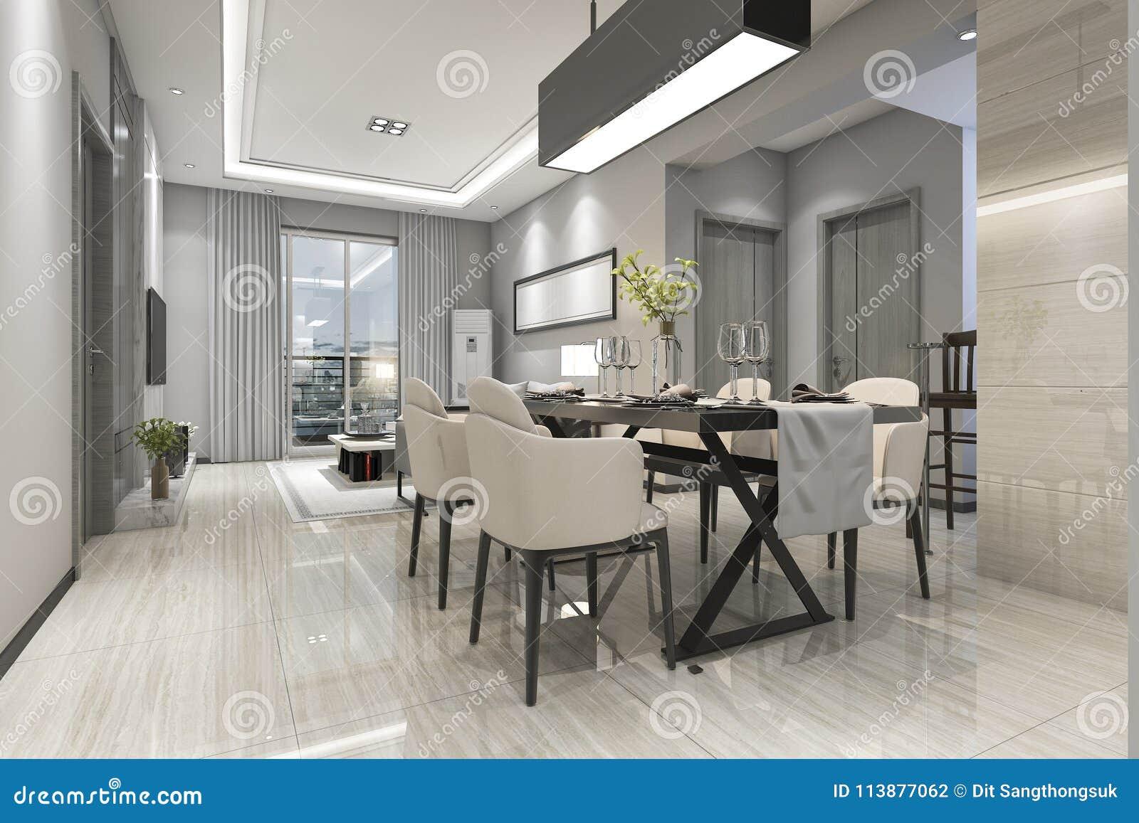 D het teruggeven moderne eetkamer en woonkamer met luxedecor
