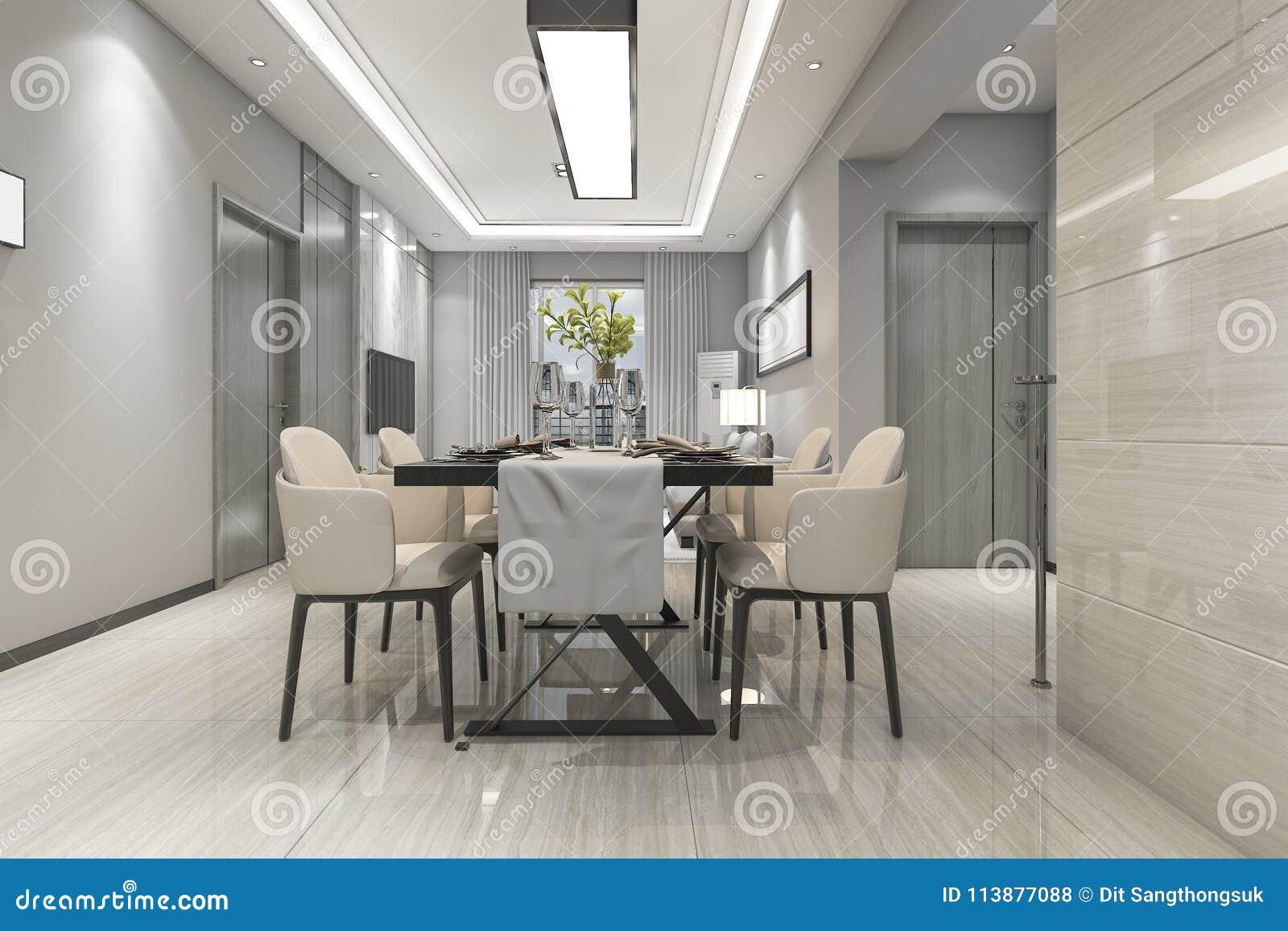 Eetkamer In Woonkamer : D het teruggeven moderne eetkamer en woonkamer met luxedecor