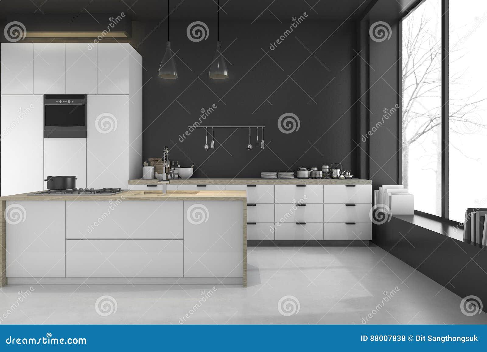 Moderne Zwarte Keuken : 3d het teruggeven moderne zolder zwarte keuken en eetkamer in de