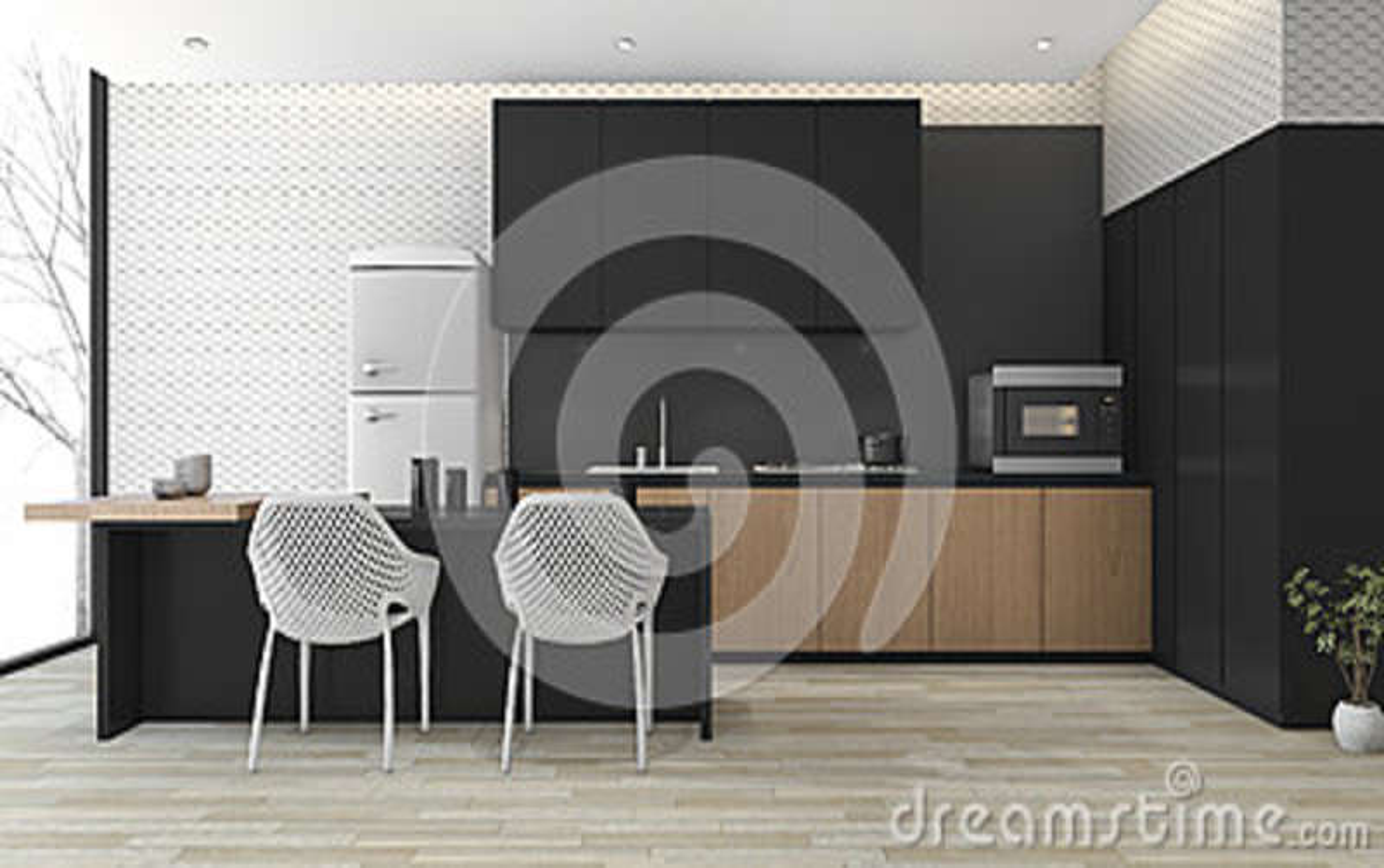Moderne Zwarte Keuken : D het teruggeven moderne zwarte keuken met houten vloer dichtbij