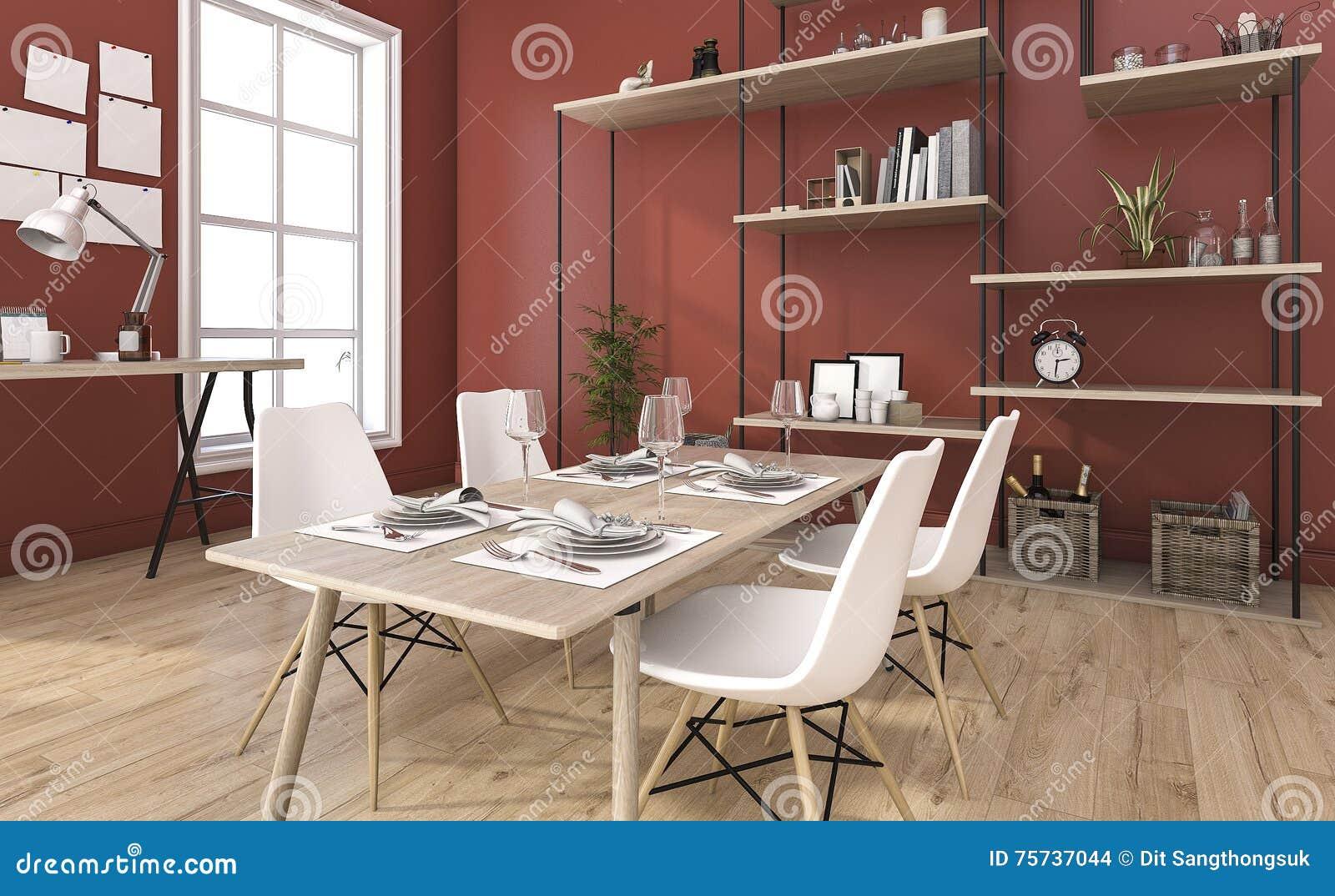 D het teruggeven rode uitstekende eetkamer met decoratie stock