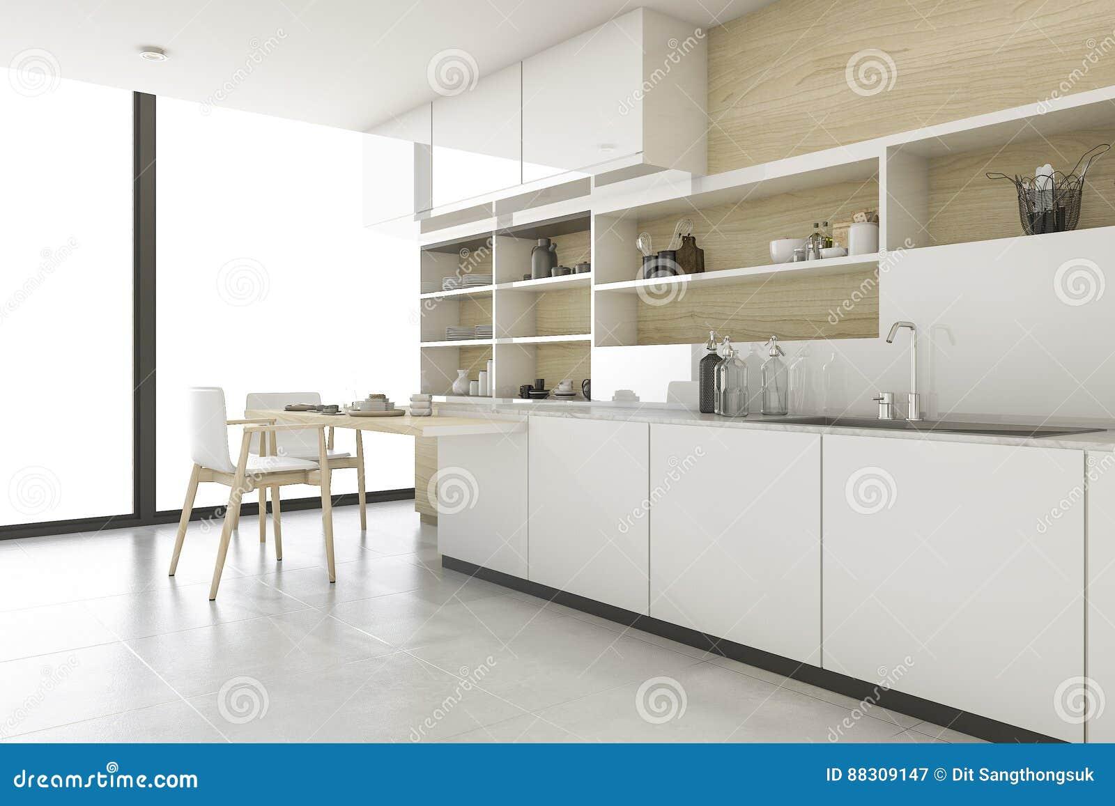 Keuken Interieur Scandinavisch : D het teruggeven skandinavische keuken met minimale stijl stock