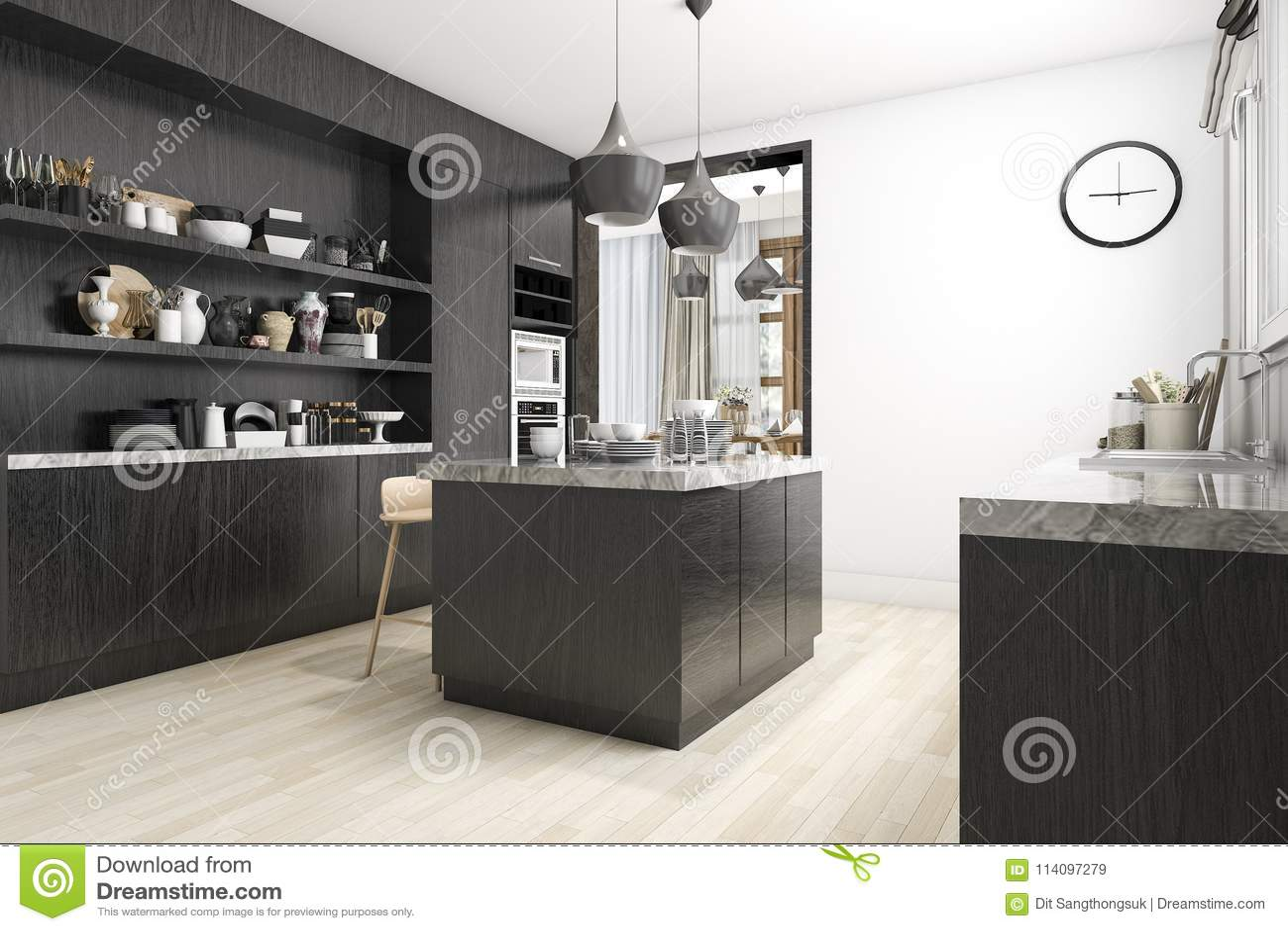 Keuken Interieur Scandinavisch : D het teruggeven skandinavische keuken met wit en zwart ontwerp