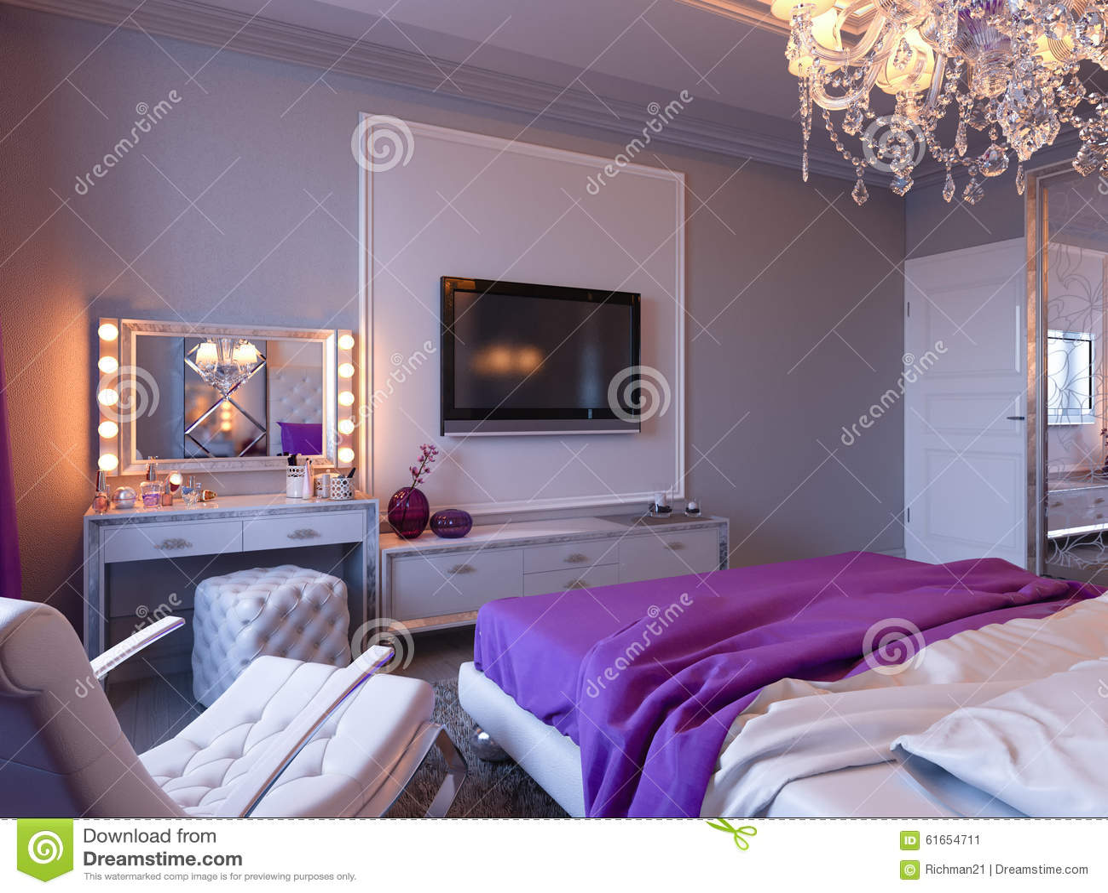 Grote Slaapkamer Kast : D het teruggeven slaapkamer in grijze en witte tonen met purpere