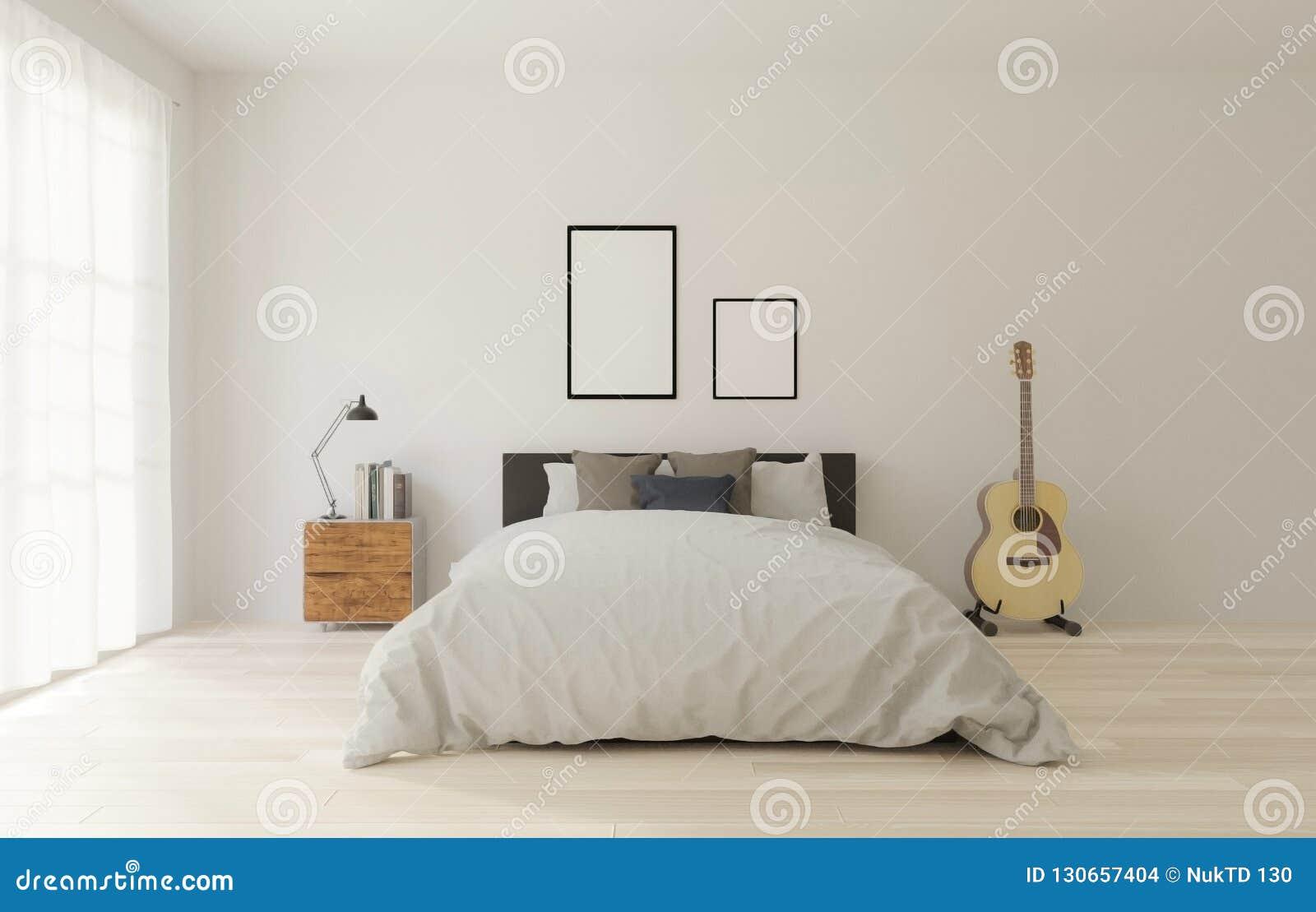 Slaapkamer Houten Vloer : D het teruggeven slaapkamer van de zolderstijl met witte omhoog