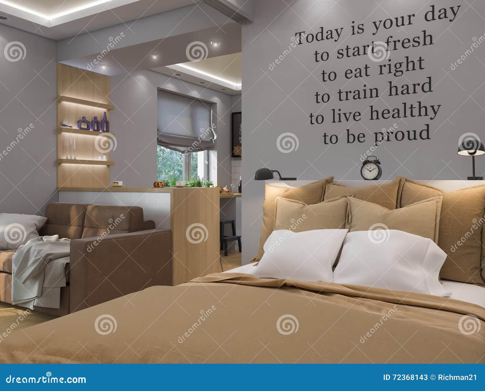 3d het teruggeven woonkamer slaapkamer en keuken binnenlands ontwerp