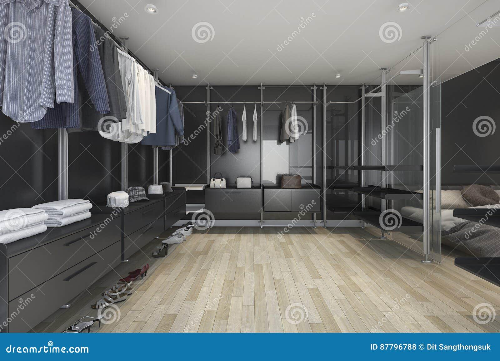 D het teruggeven zolder donkere gang in kast en woonkamer stock