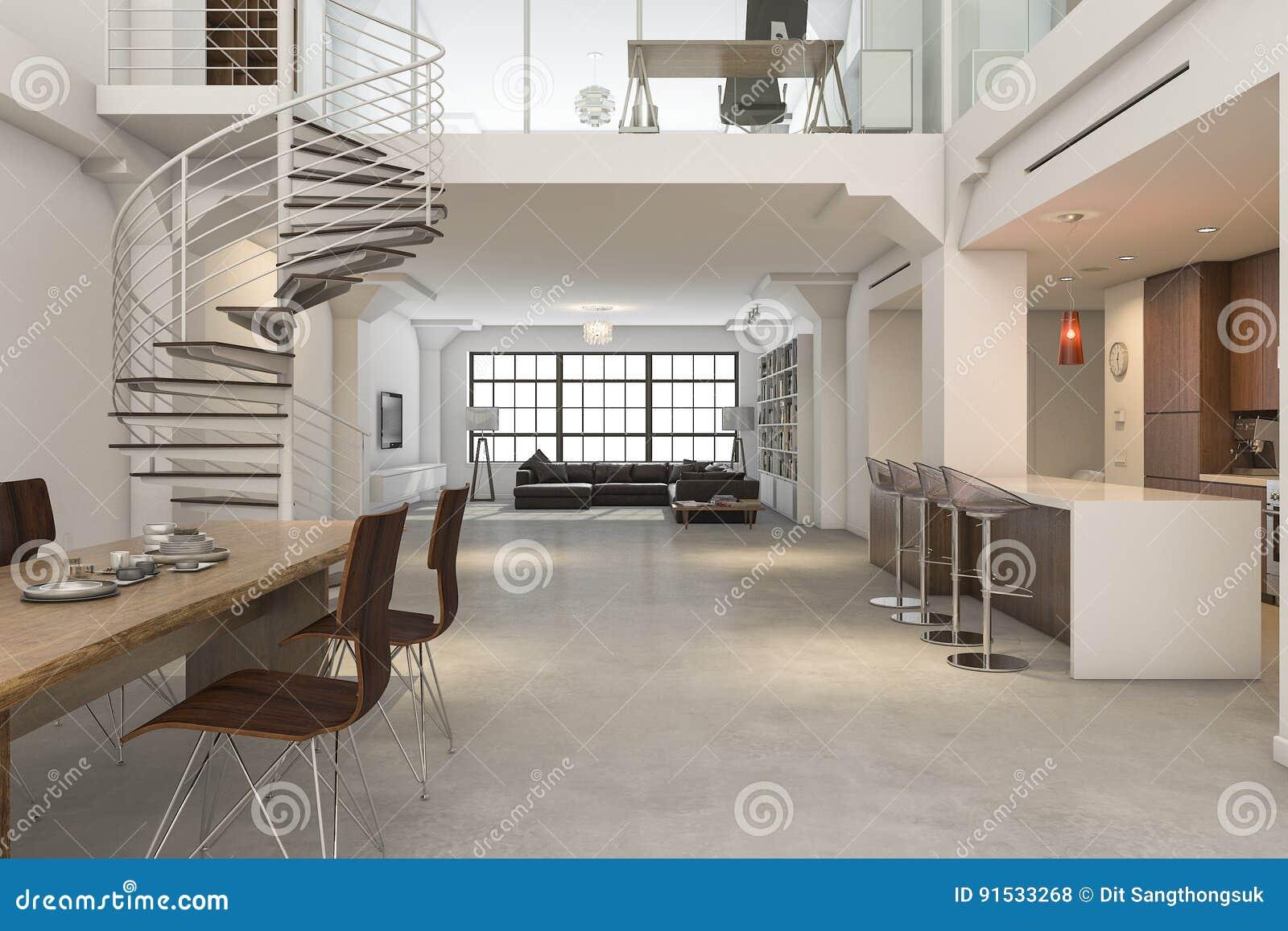 3d het teruggeven zolder klassiek binnenland van en keuken die dineren leven