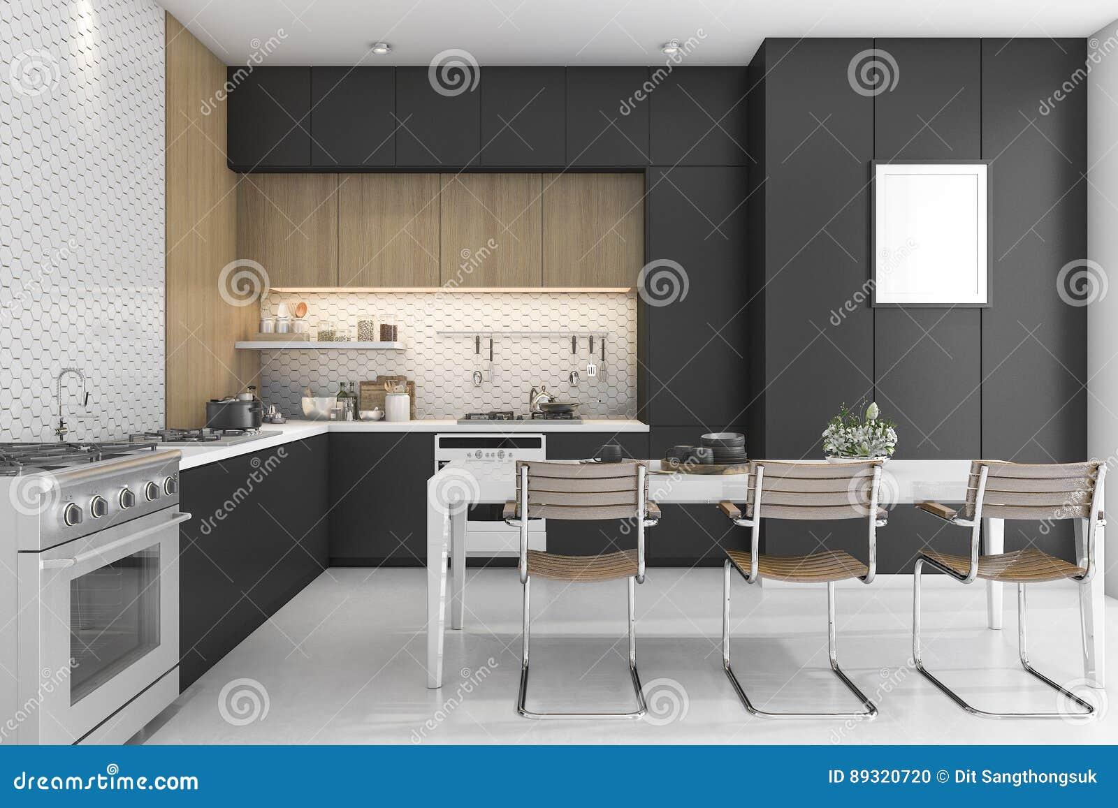 3d het teruggeven zwarte keuken met houten ontwerp stock for 3d ontwerp keuken