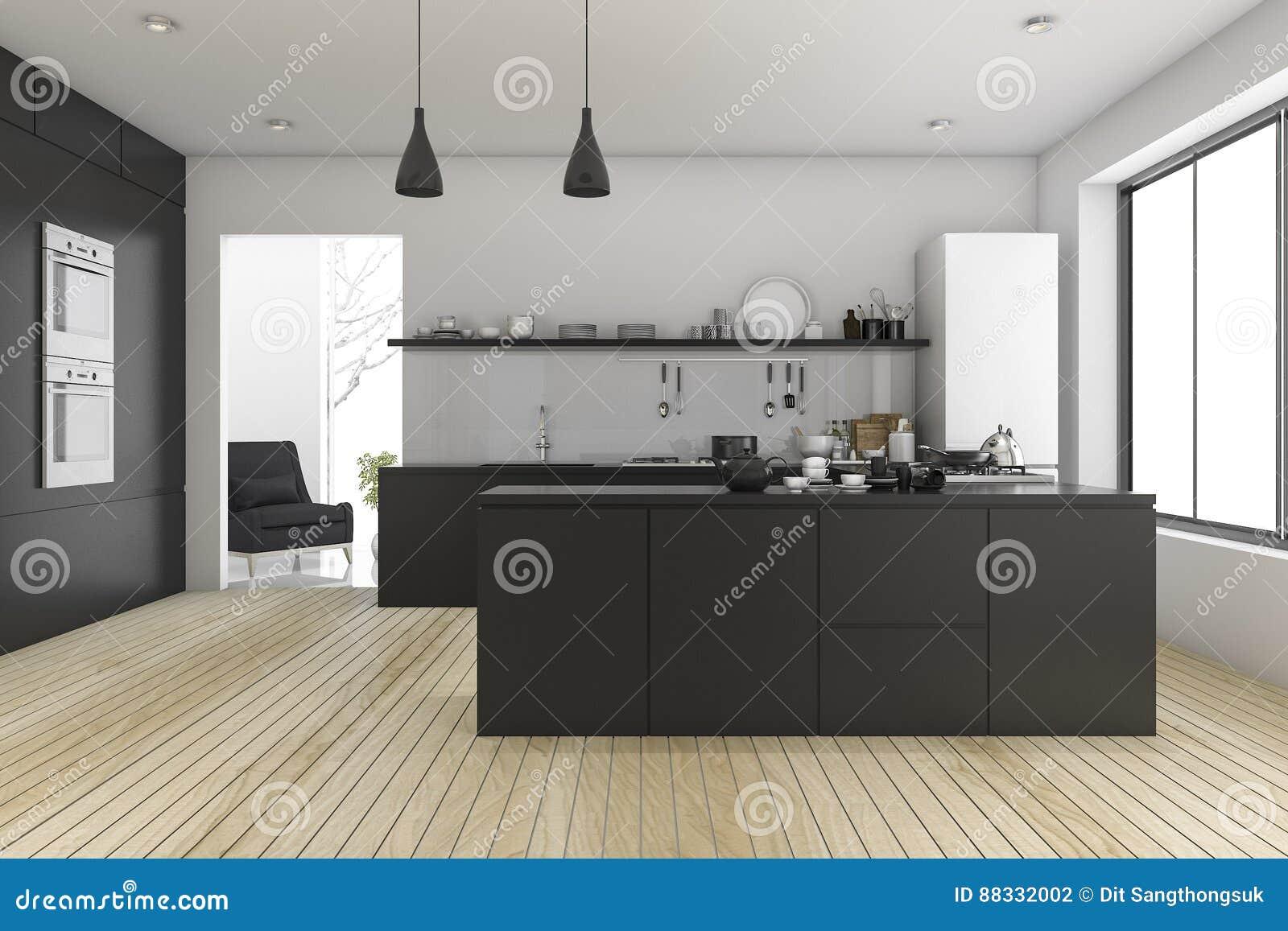 Woonkamer Zwarte Keuken : D het teruggeven zwarte minimale keuken dichtbij woonkamer stock