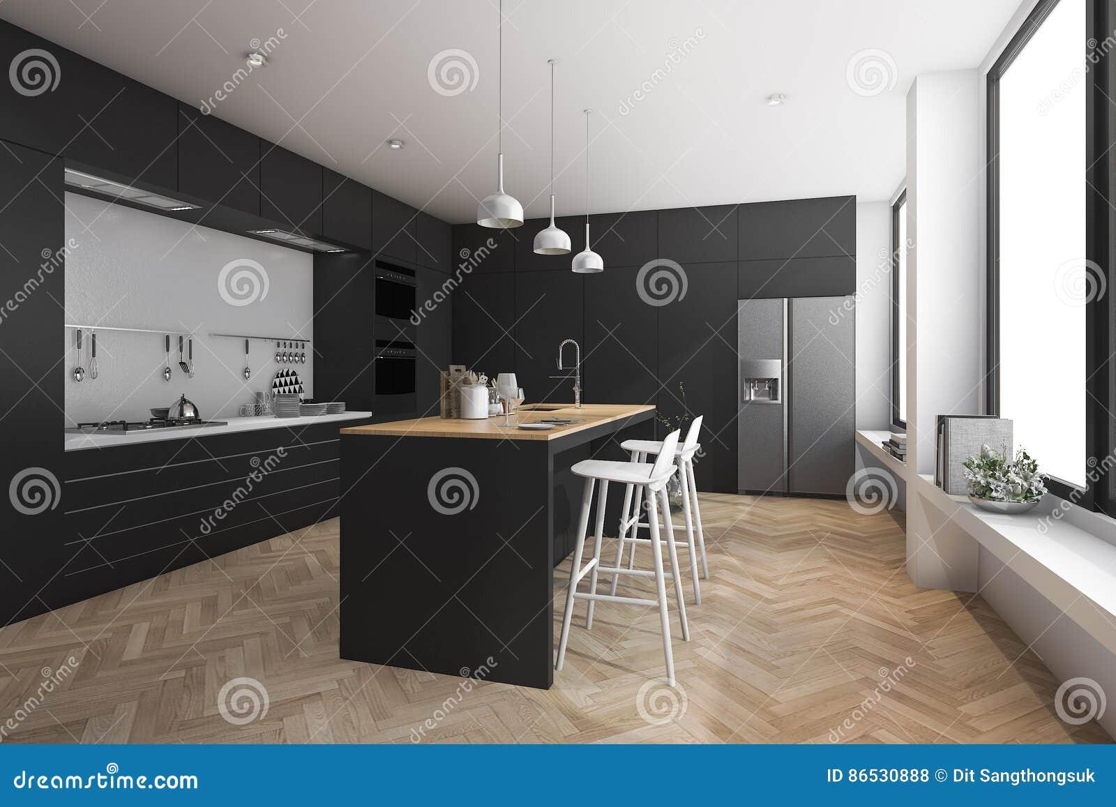 Keuken Moderne Bar : 3d het teruggeven zwarte moderne het dineren bar in keuken stock
