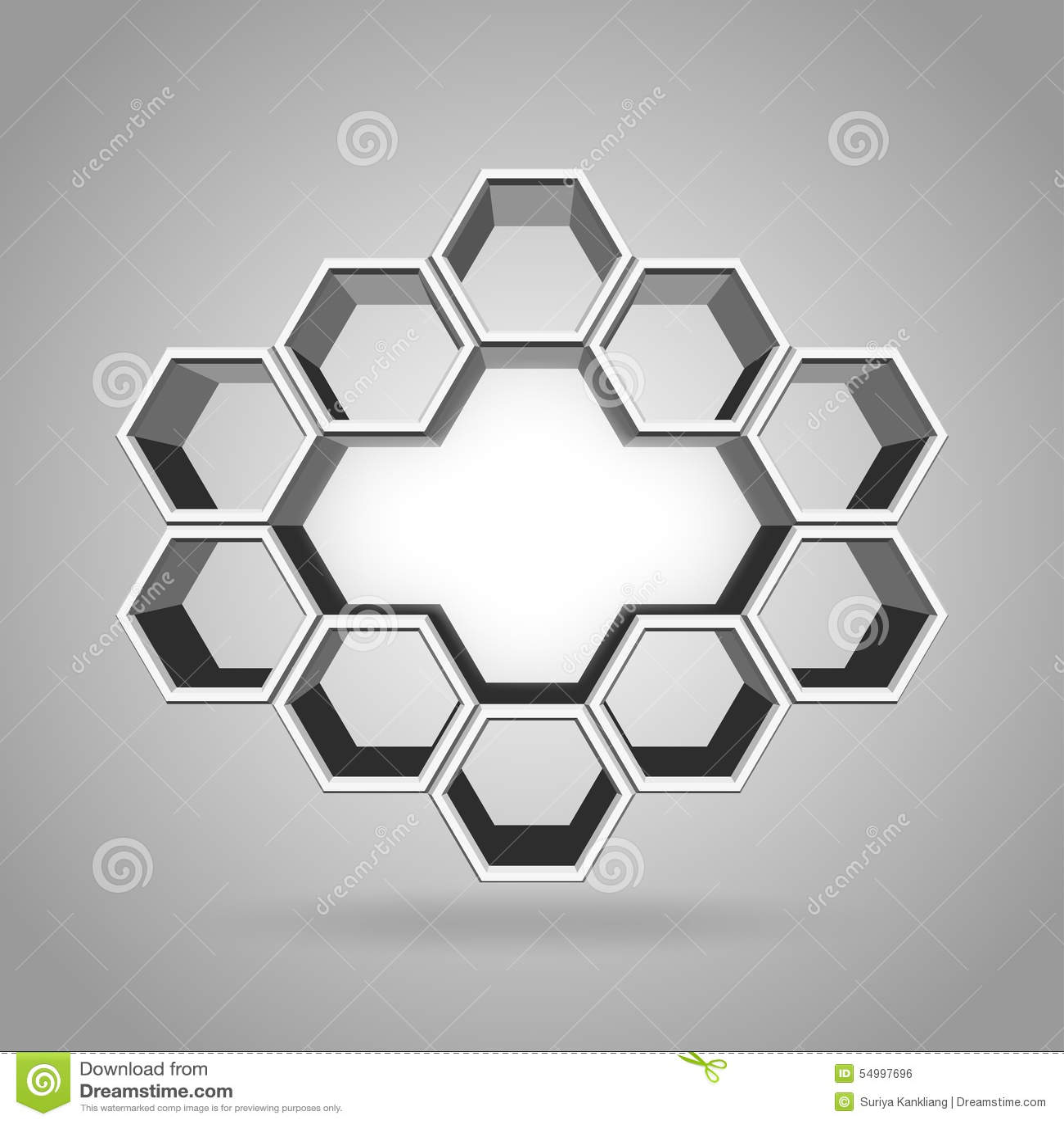 3d hexagon pattern stock vector image 54997696 - Royalty Free Vector Hexagon Pattern