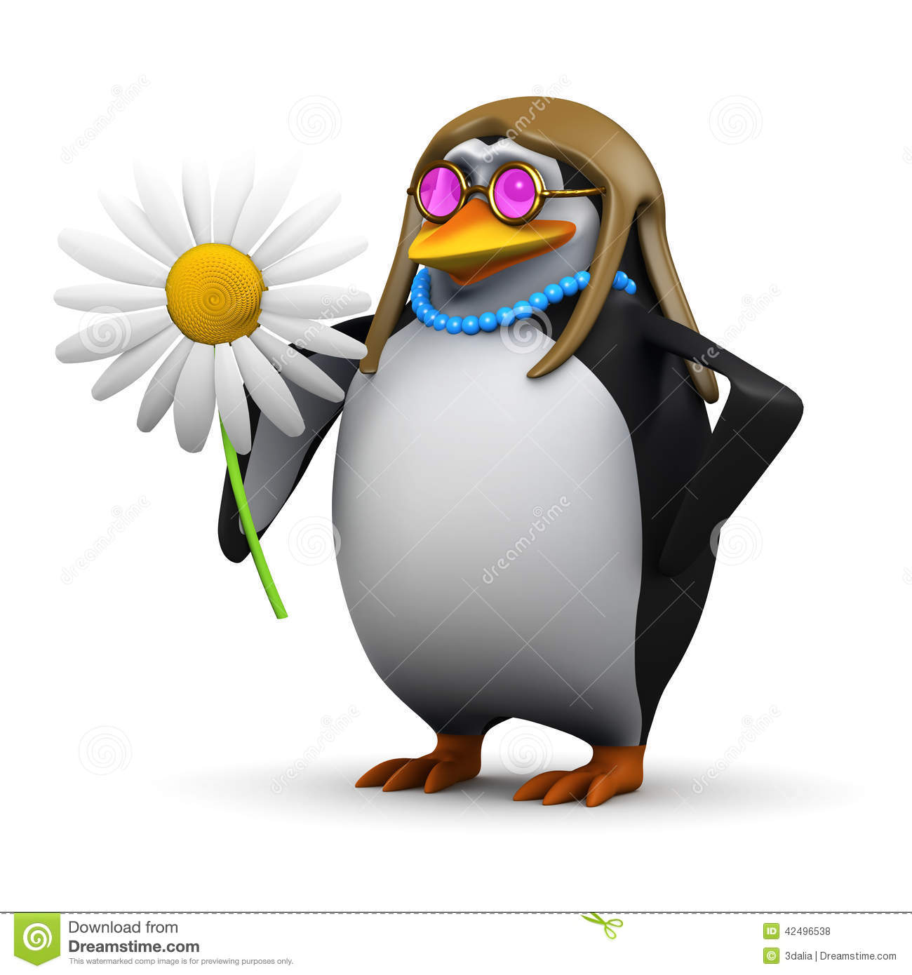 Hippy Penguin Flower Child Render Long Hair Vector