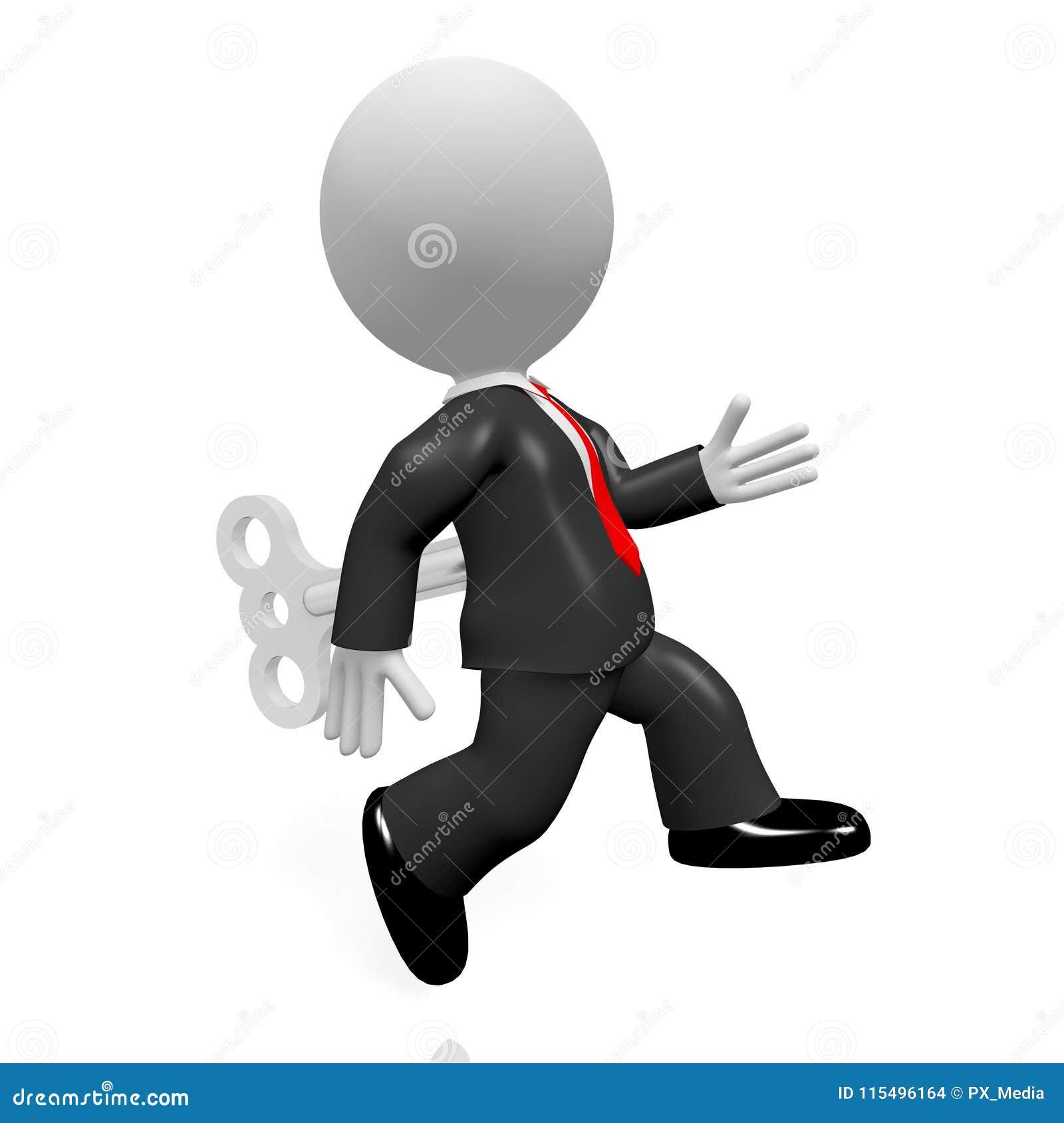 6fd8703ebb61 Personaje de dibujos animados corriente del hombre de negocios 3D -  concepto del juguete de la conclusión