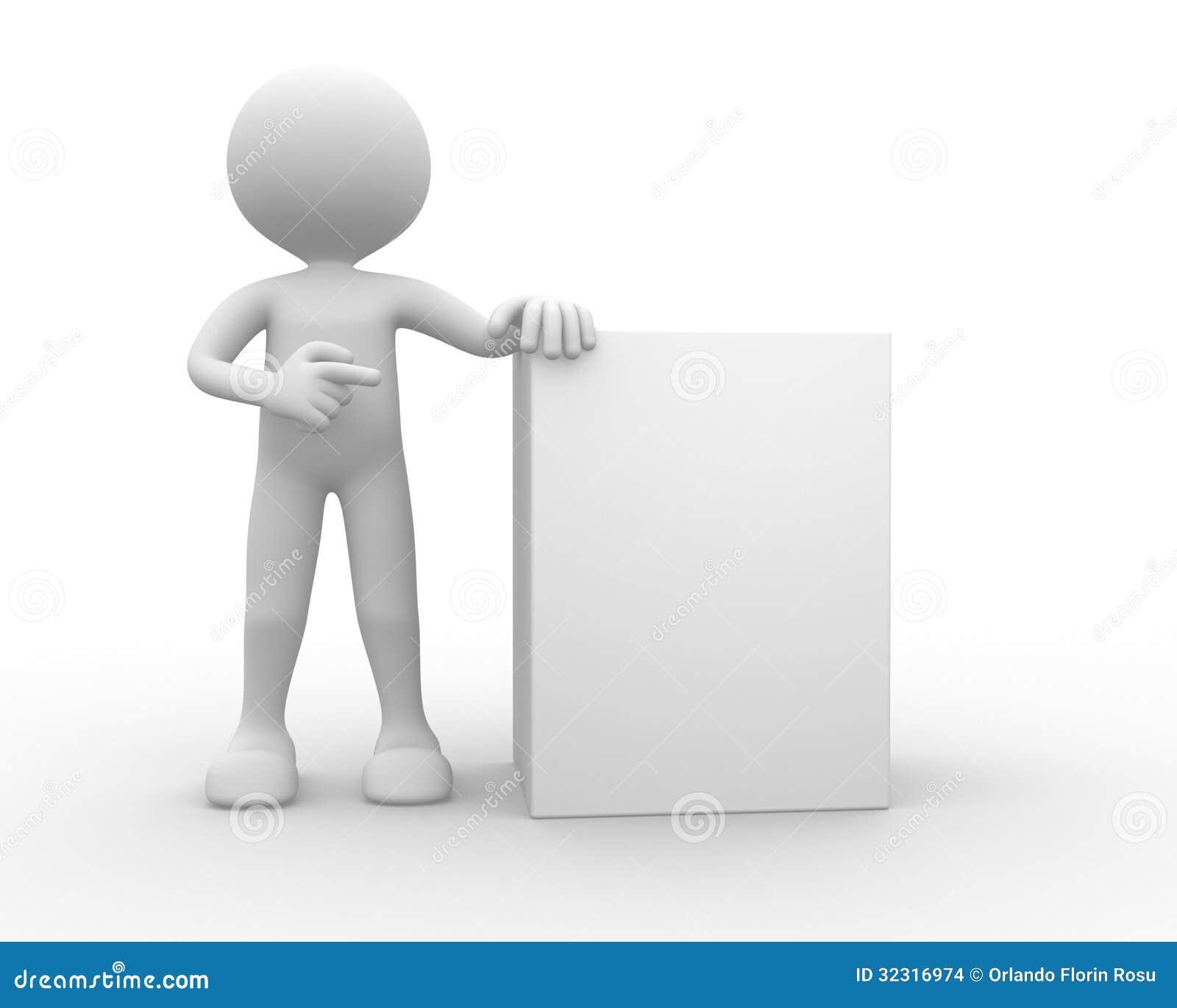 3d hombre persona con el tablero en blanco stock de - Tablero blanco ...