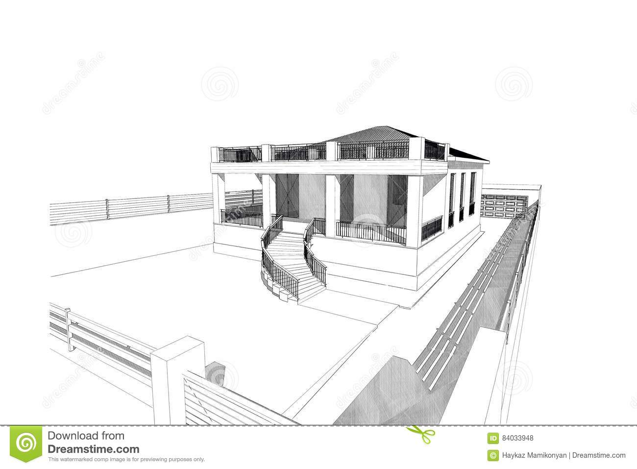 d home house drawing line exterior design rendering residential 84033948