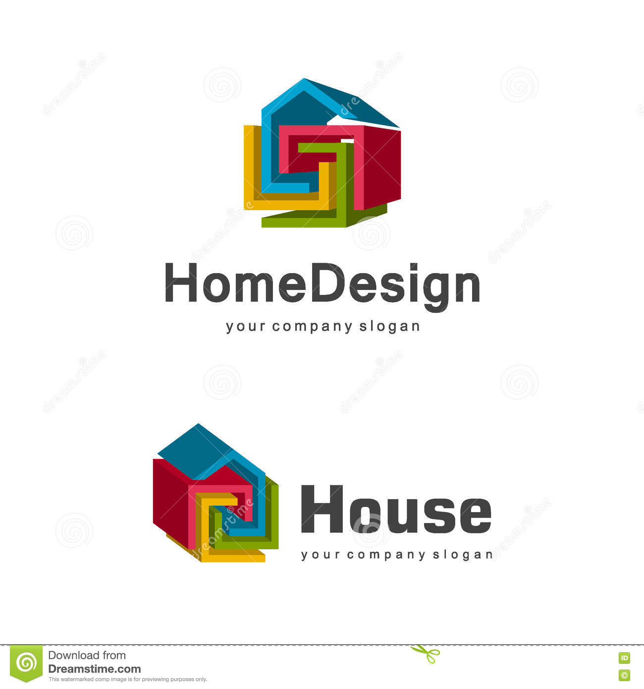 3d Home Logo Template Abstract Geometric House Symbol