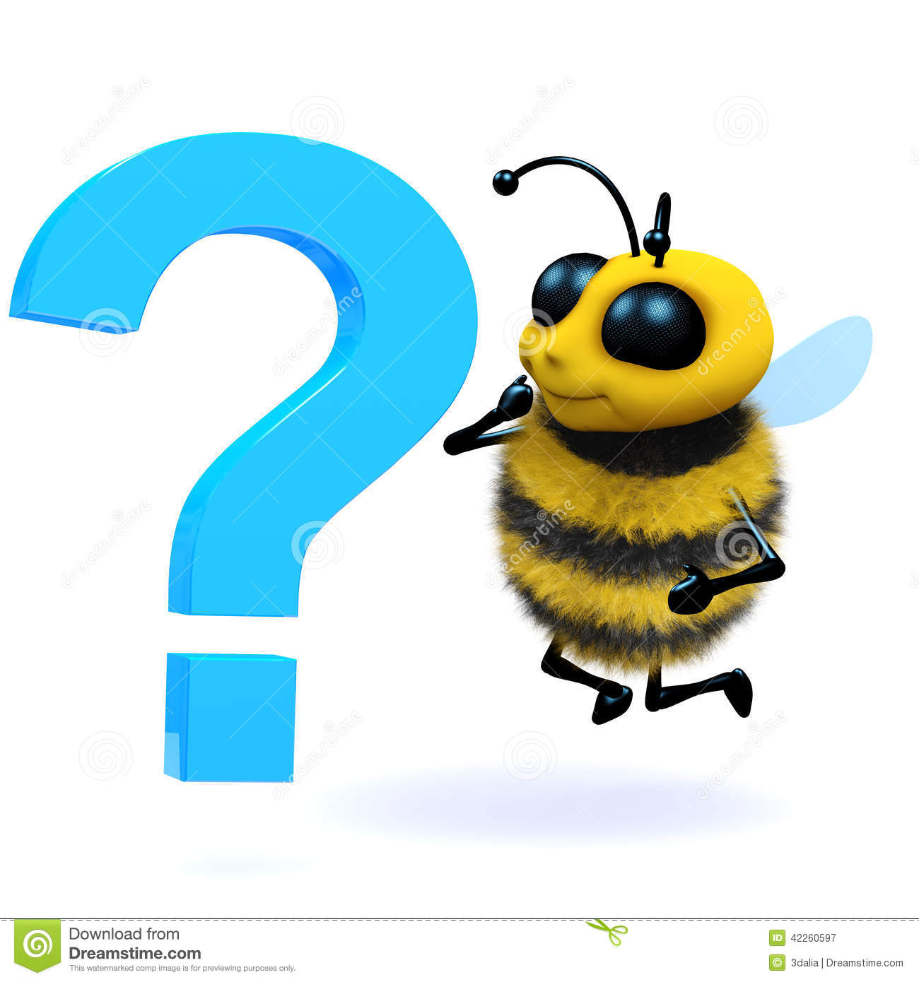 3d Honey Bee Question Mark Stock Illustration - Image: 42260597