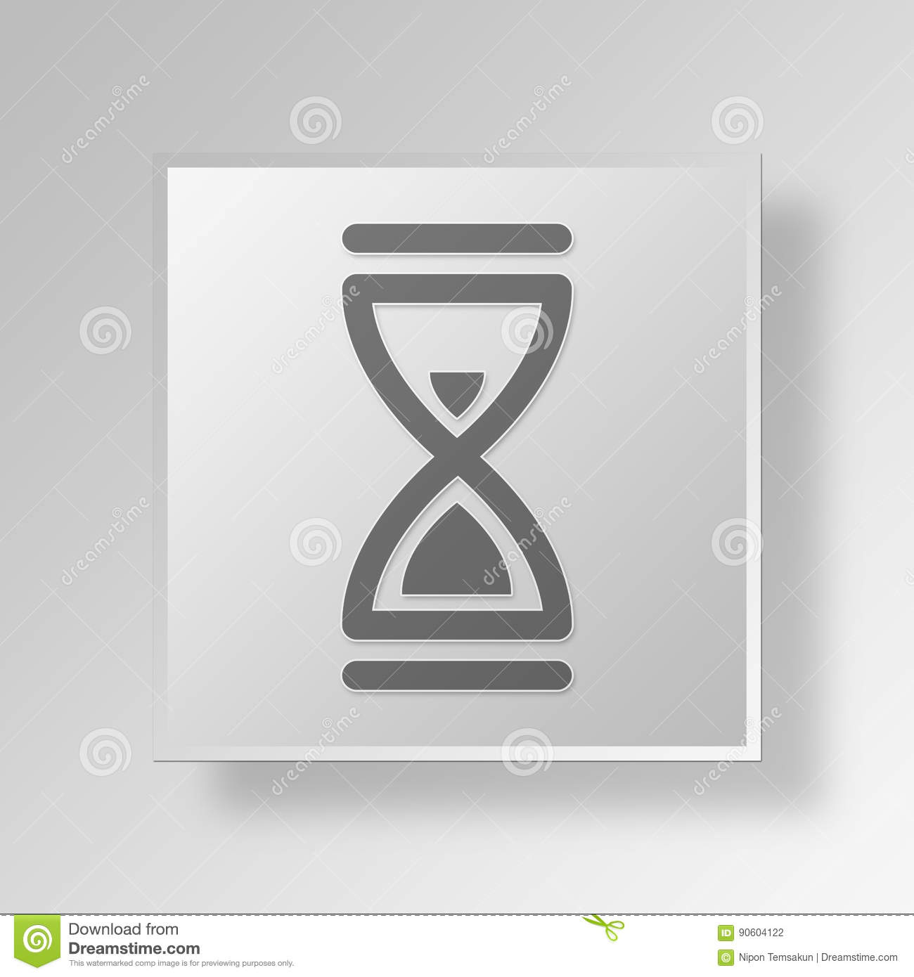 3d Hourglass Icon Business Concept Stock Illustration Illustration