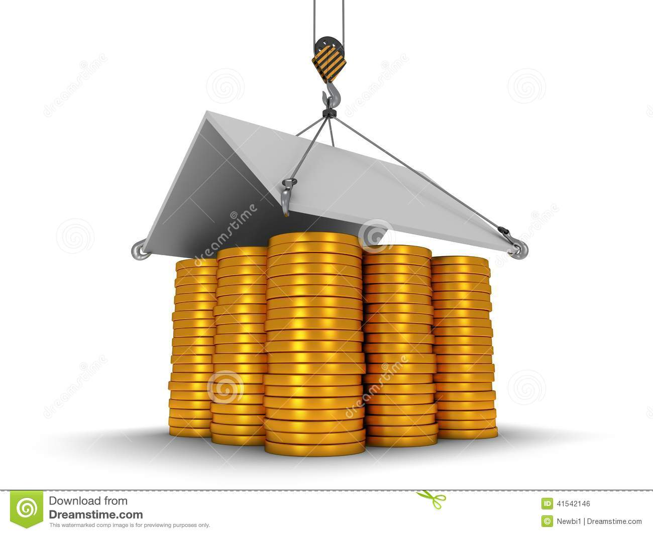 3d house build with gold coins stock photography for Building a dog kennel business
