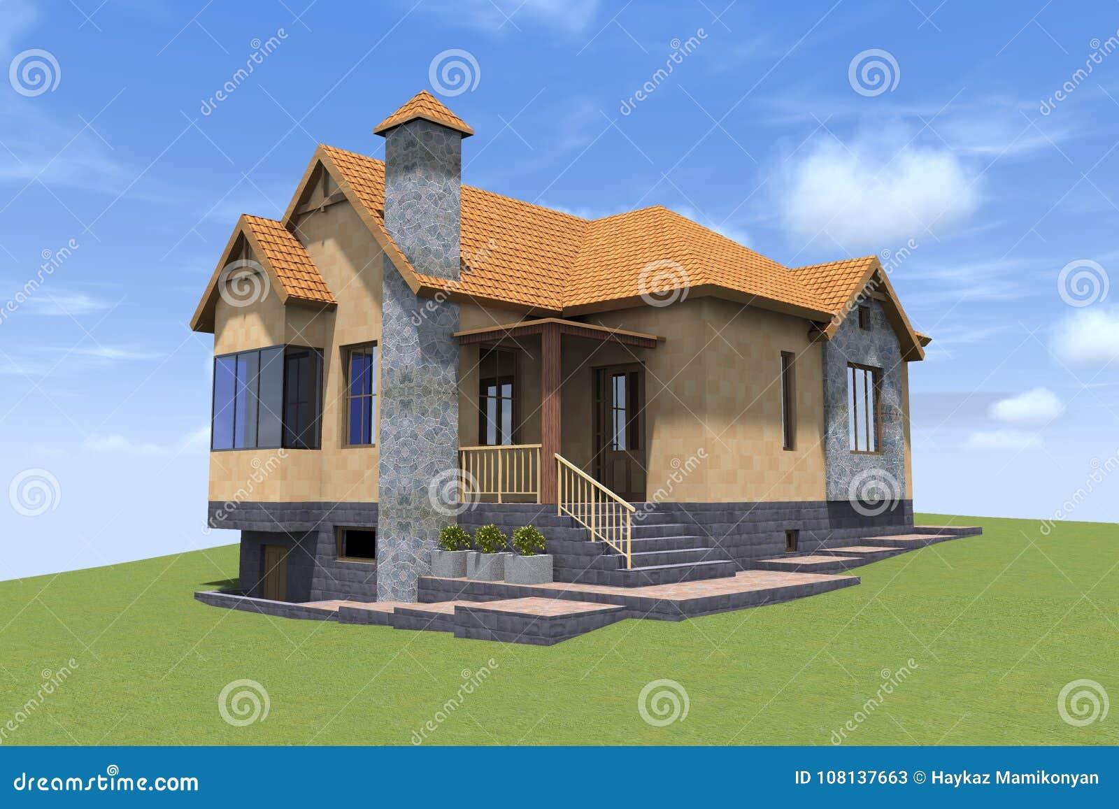 Download 3D House Render In Armenia Stock Illustration. Illustration Of  Line   108137663