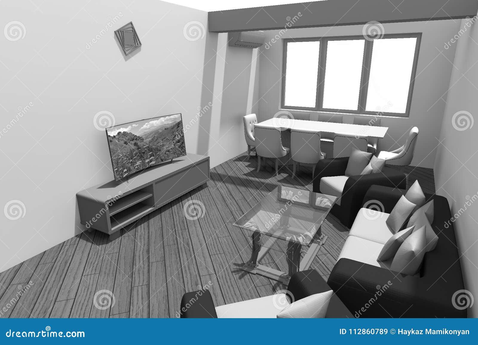 3d Interior Design B W Stock Illustration Illustration Of