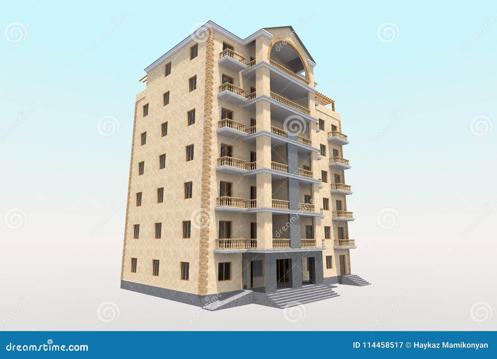 3d Residential Building Stock Illustration Illustration Of Background 114458517