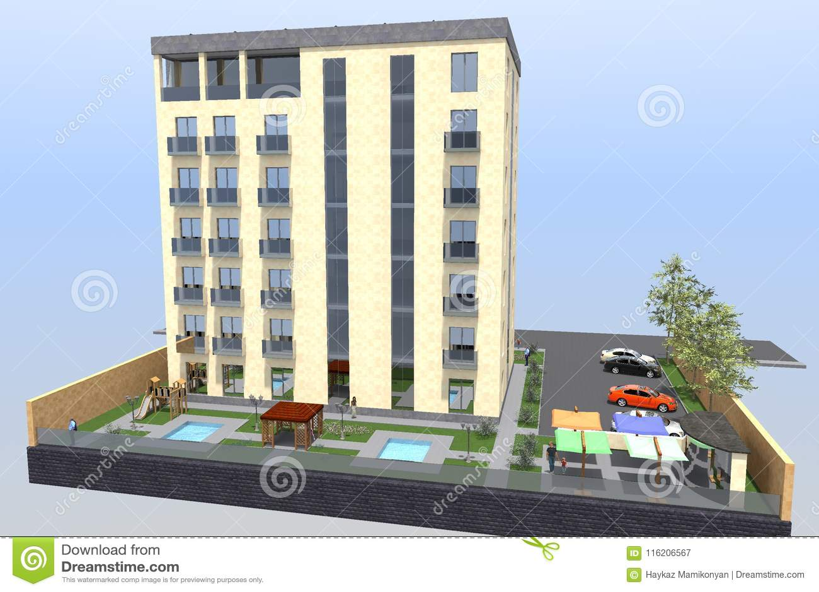 3d Building Residential House Stock Illustration Illustration Of Wallpaper Home 116206567