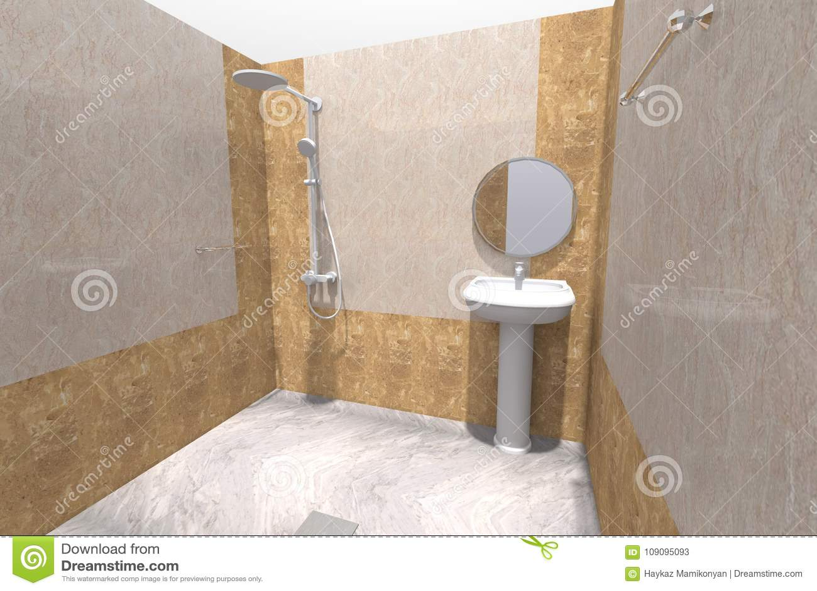 3D Bathroom Interior Render In Armenia Stock Illustration