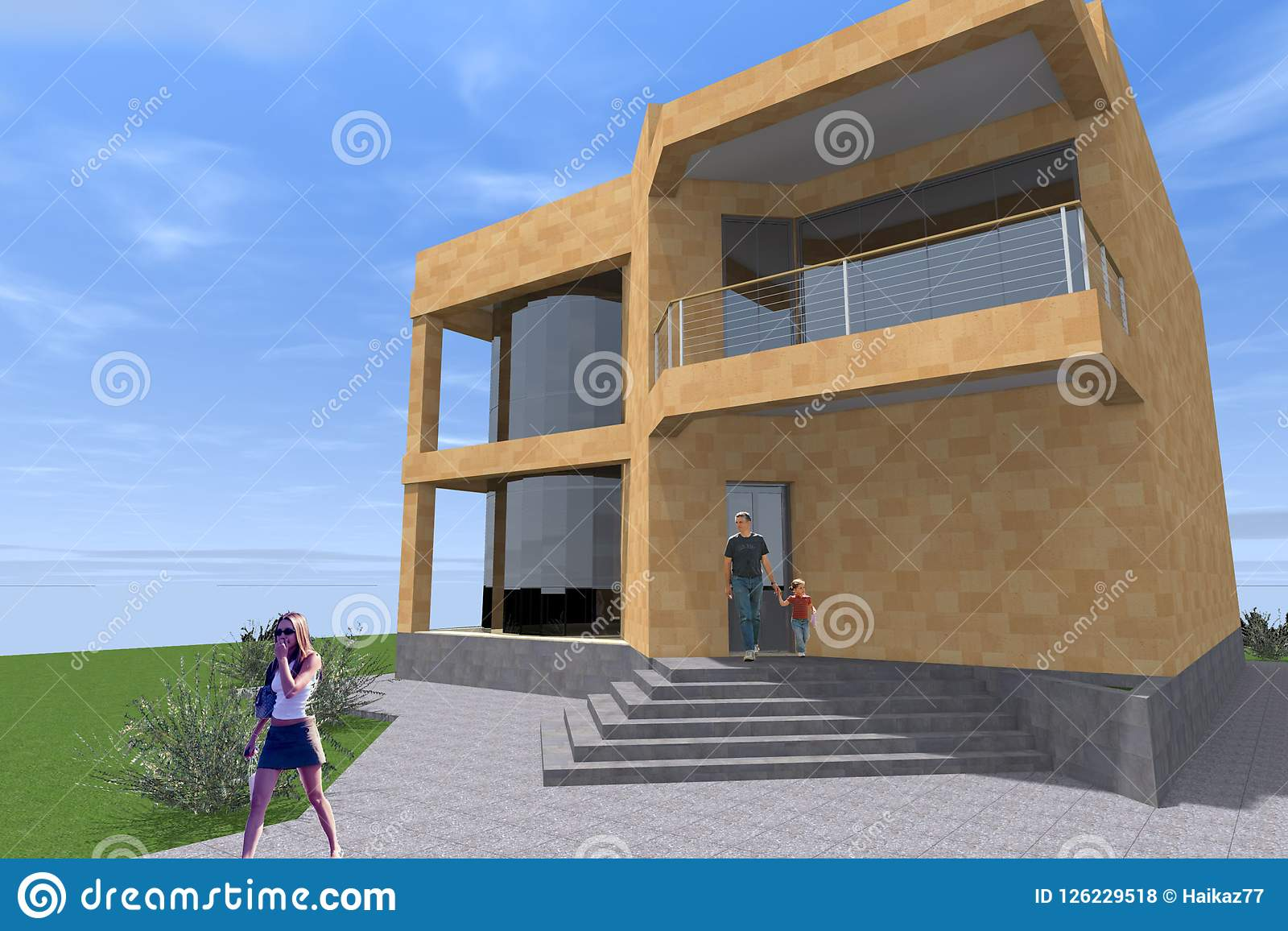 Building Residental Design 3D Stock Illustration