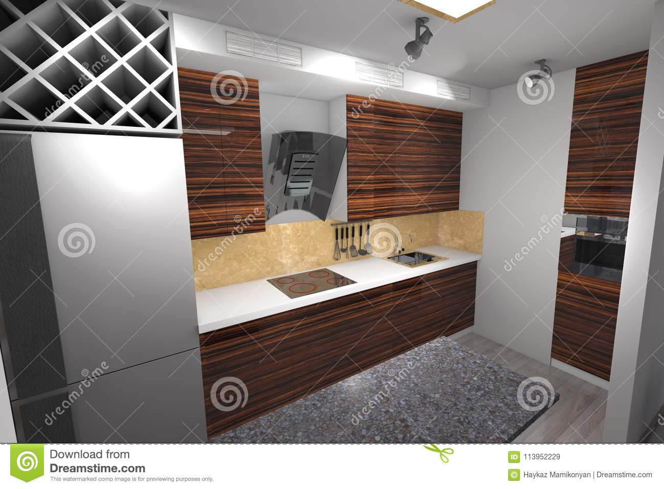 3d Kitchen Design Modern Stock Illustration Illustration Of Master