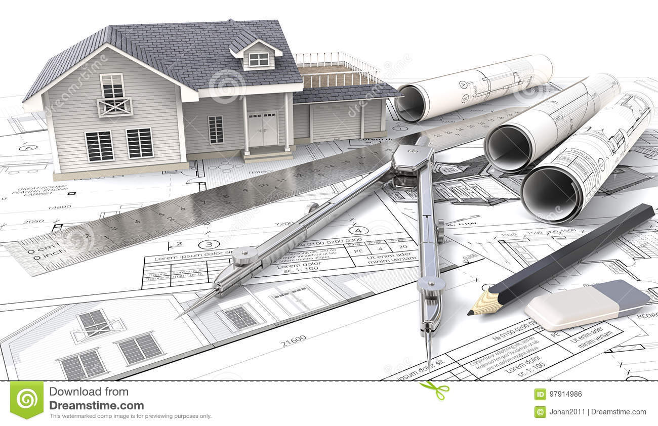 3D House On Design Sketches And Blueprints. Stock ... on free drawing house floor plans, luxury kerala house design plans, design home small house plans, celebrity house design plans, free home design plans, 3d view house plans, free design your own house, unique home designs house plans, 3d interior house plans, country house plans, free design flower garden, simple small house design plans, free house floor plans with dimensions, philippines house design plans, kerala home design and floor plans, 3d blueprint house plans, architect home design plans,
