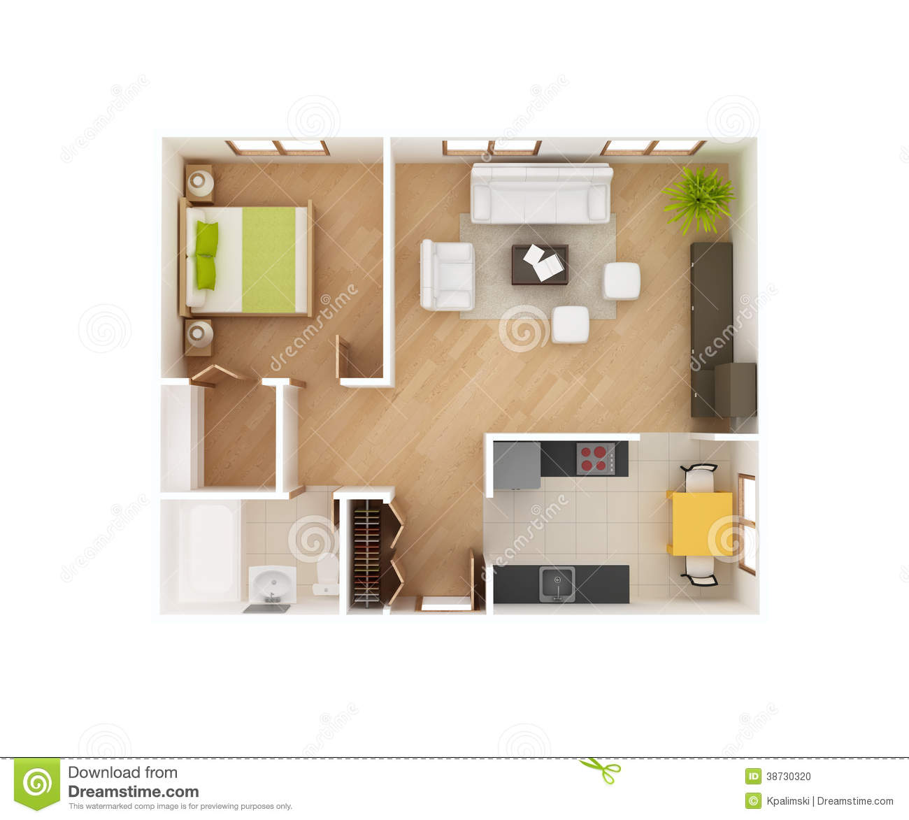 Basic 3d house floor plan top view stock illustration for Simple one room house plans