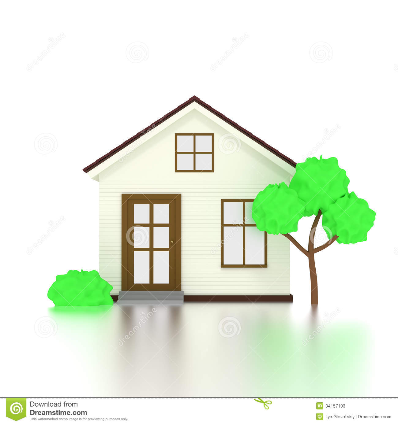 3d House Icon With Tree Stock Illustration Image Of