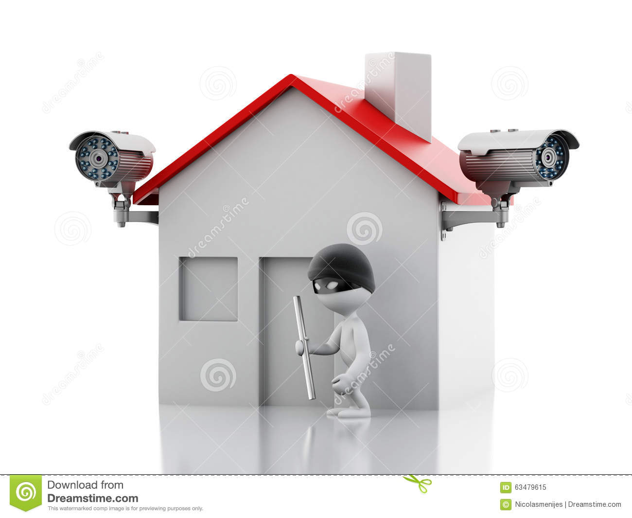 3d house with security cctv camera stock illustration for House alarm with camera