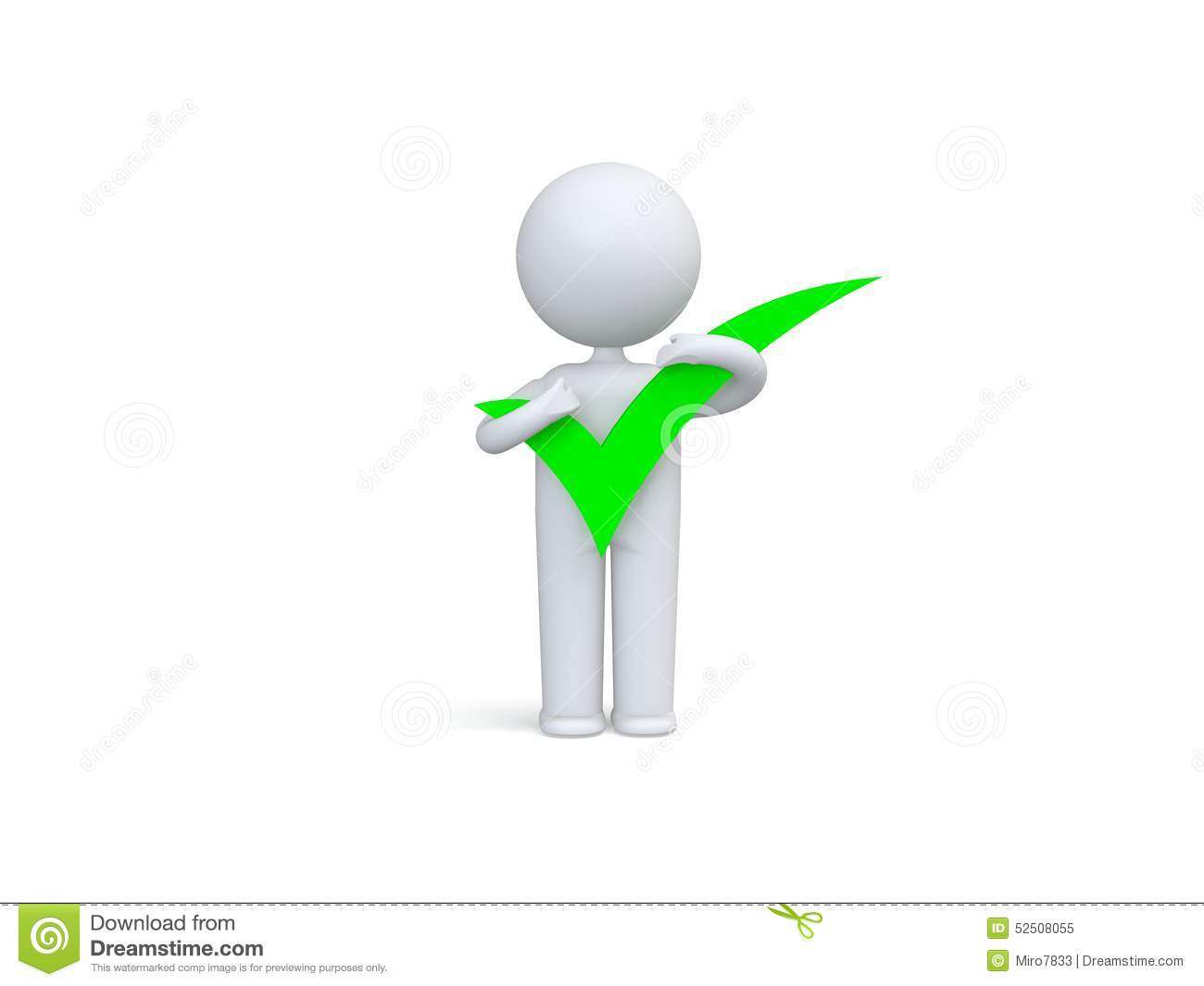 3d Human With Big Positive Symbol In Hands Stock Illustration