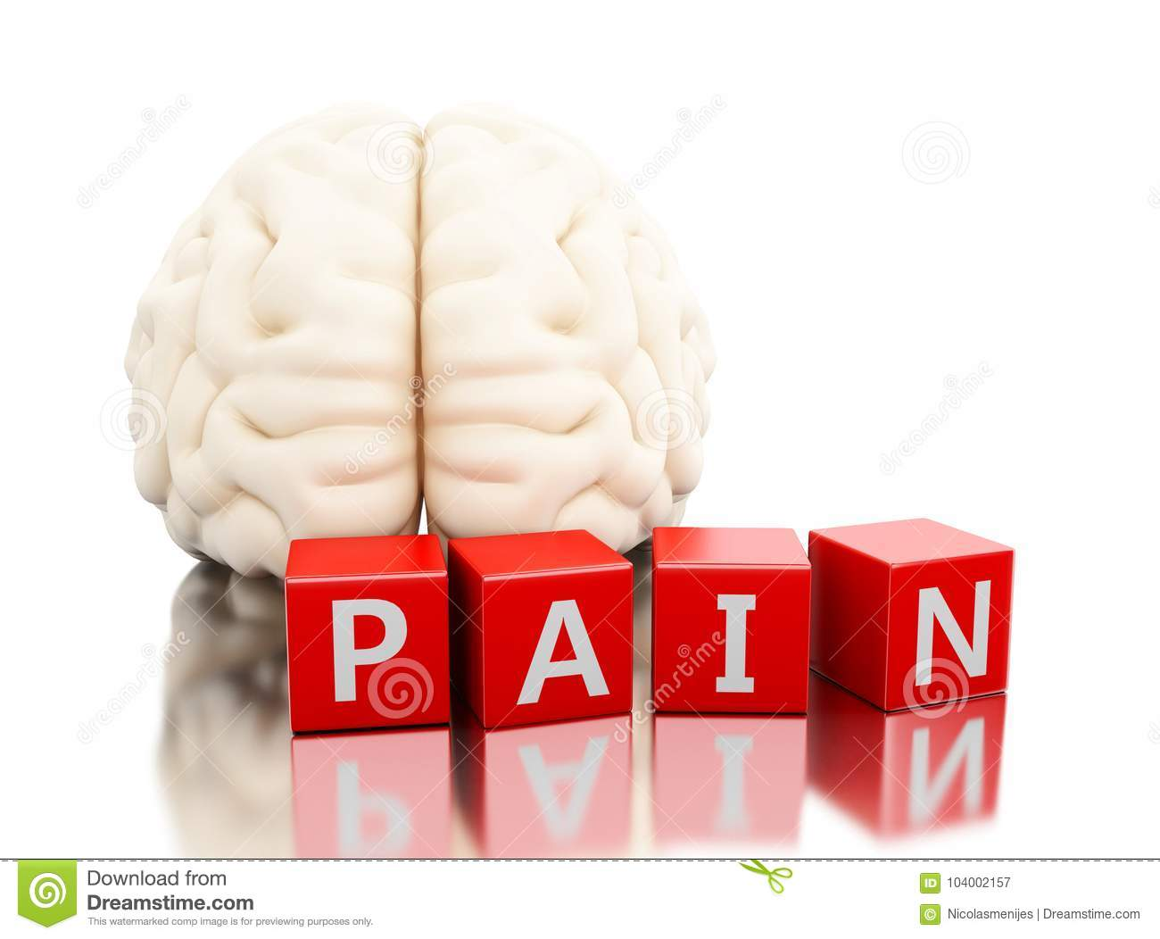 3d Human Brain With Pain Word In Cubes Stock Illustration ...