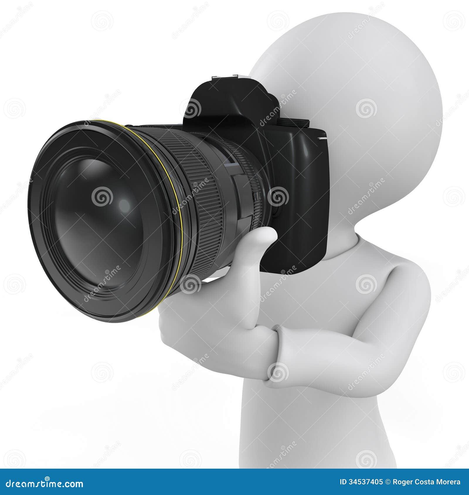 Camera 3d Dslr Camera 3d human character the photographer with a slr camera royalty camera