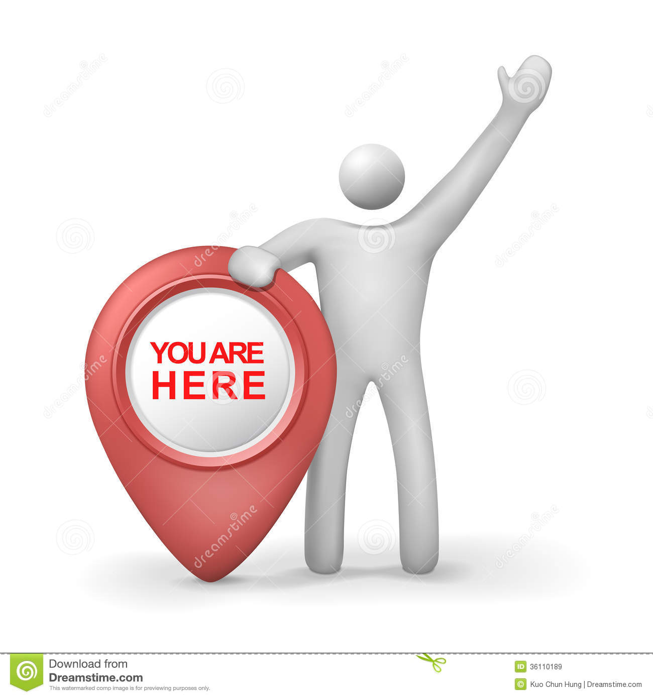 3d human with you are here symbol royalty free stock