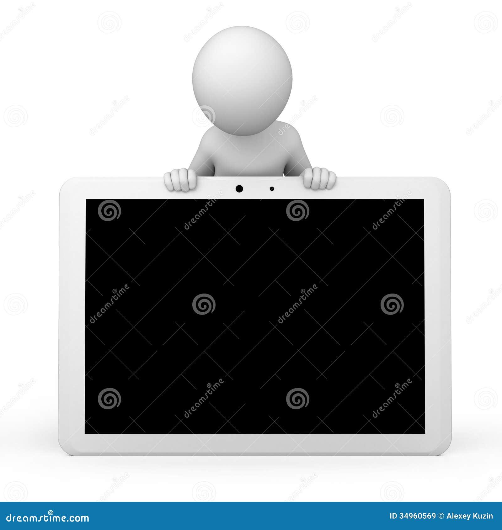 3d humano y una PC de la tableta