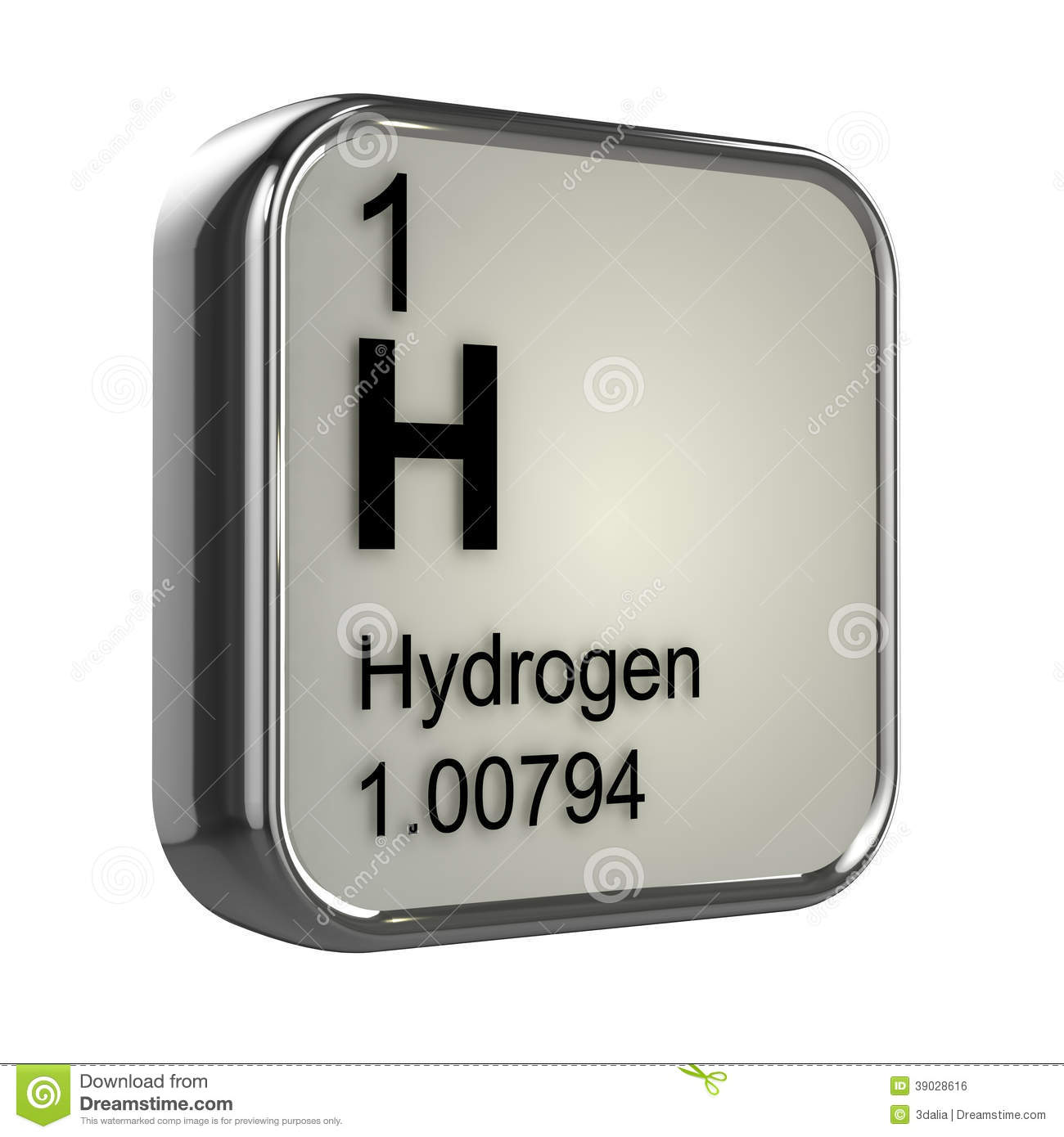 3d render of the hydrogen element from the periodic table.