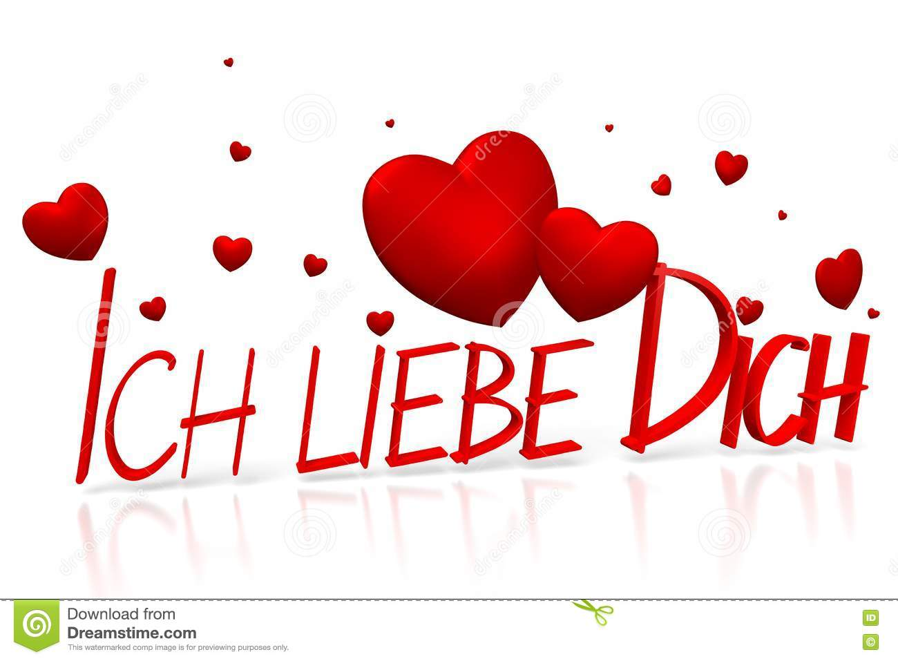 3D Ich Liebe Dich I Love You German Illustration Image – German Valentines Day Cards