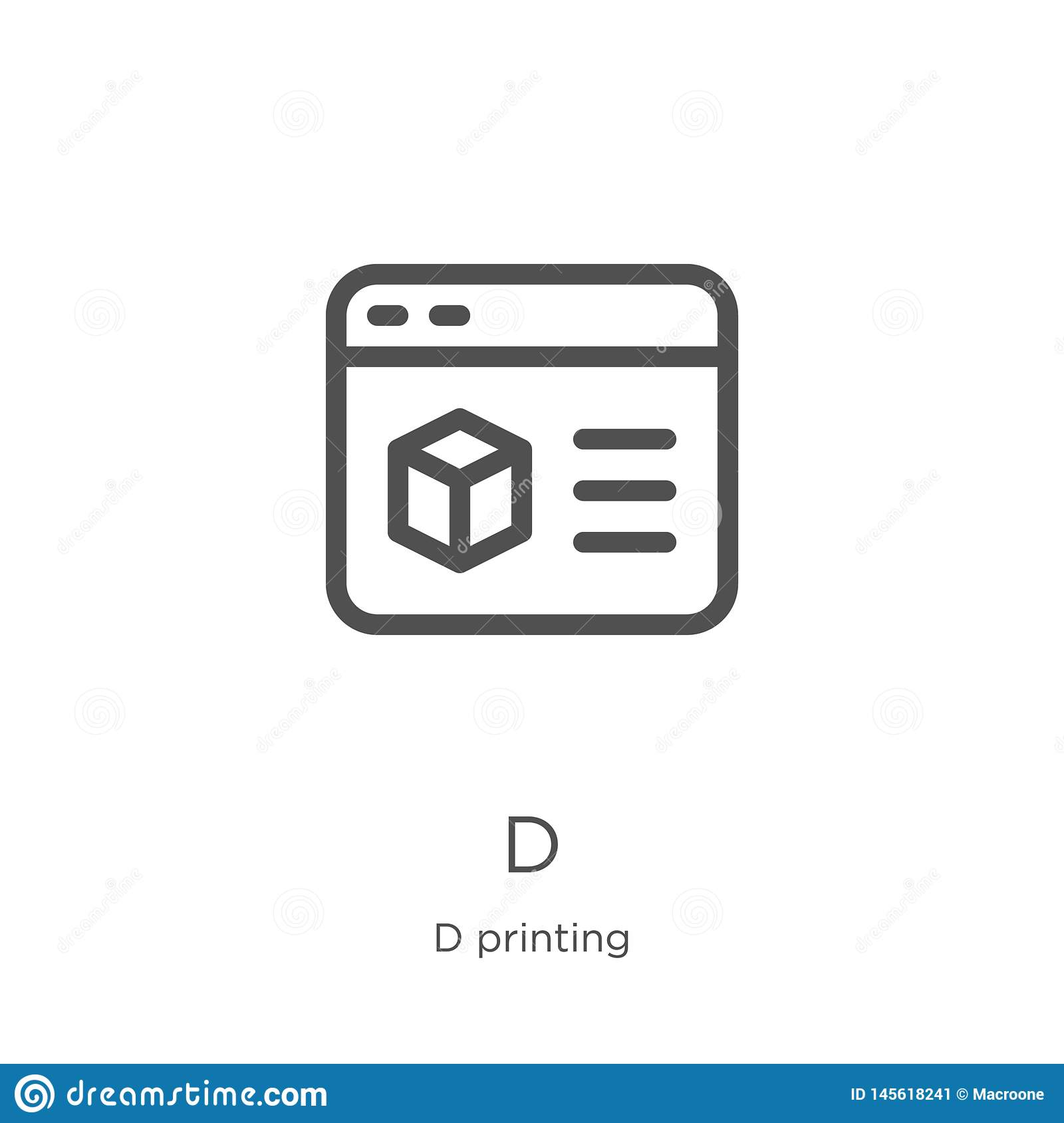 d icon vector from d printing collection. Thin line d outline icon vector illustration. Outline, thin line d icon for website