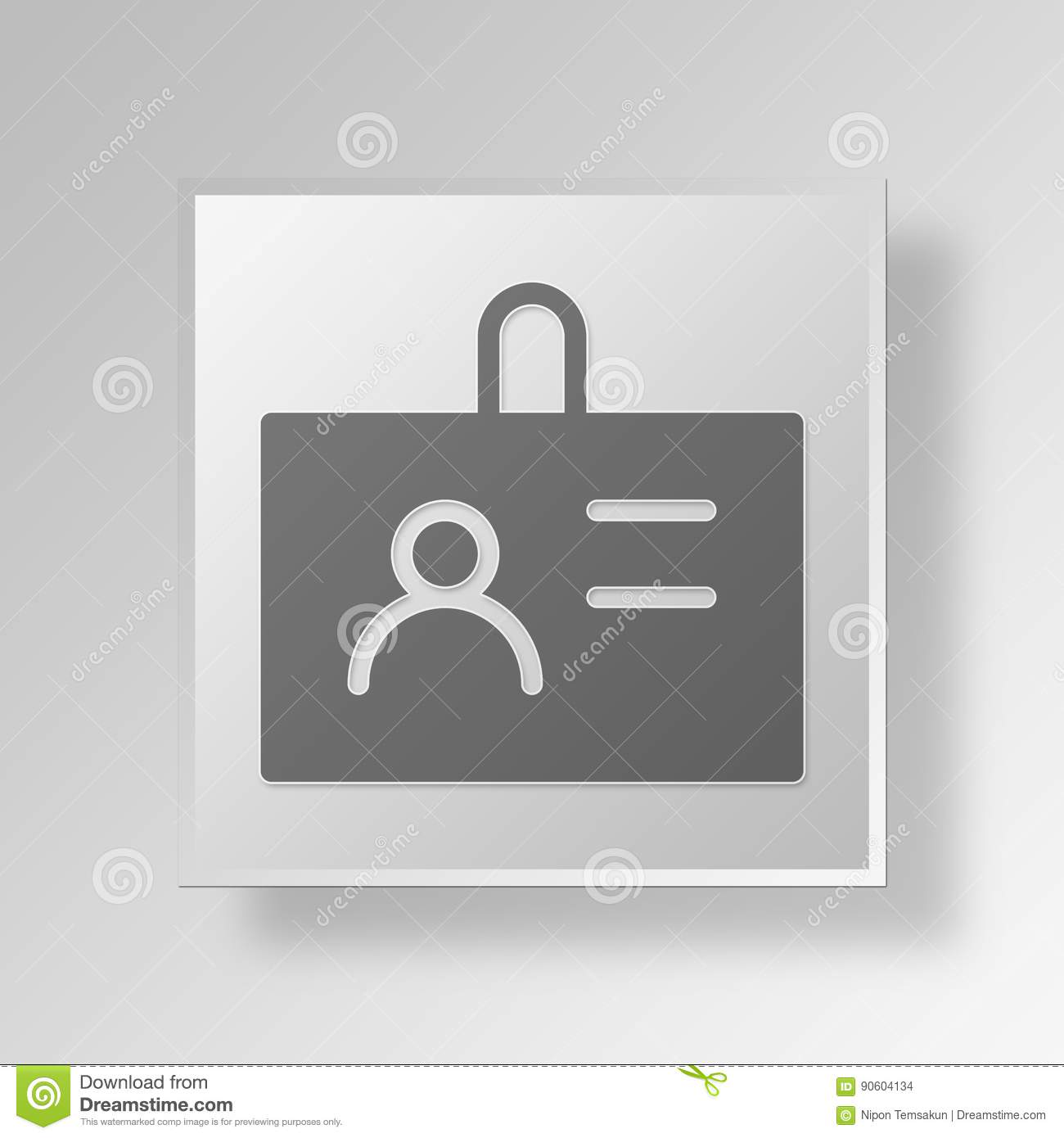 3d id badge icon business concept stock illustration illustration