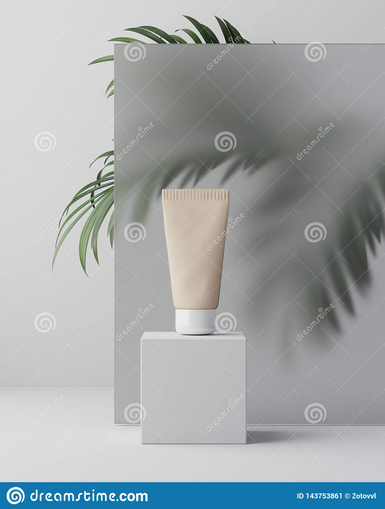 3d illustartion 草本在塑料瓶子的皮肤学化妆卫生奶油色skincare产品在玻璃背景与