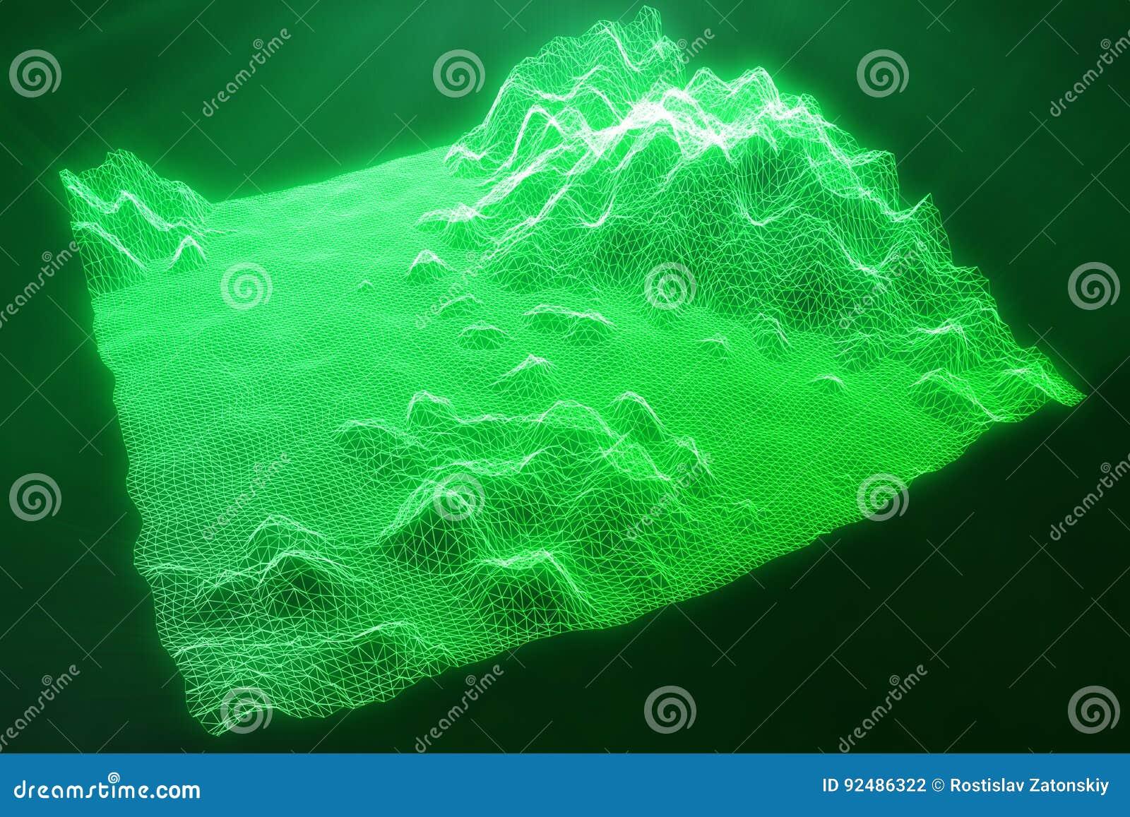 3d Illustratie Abstract Groen Landschap Bacgkround