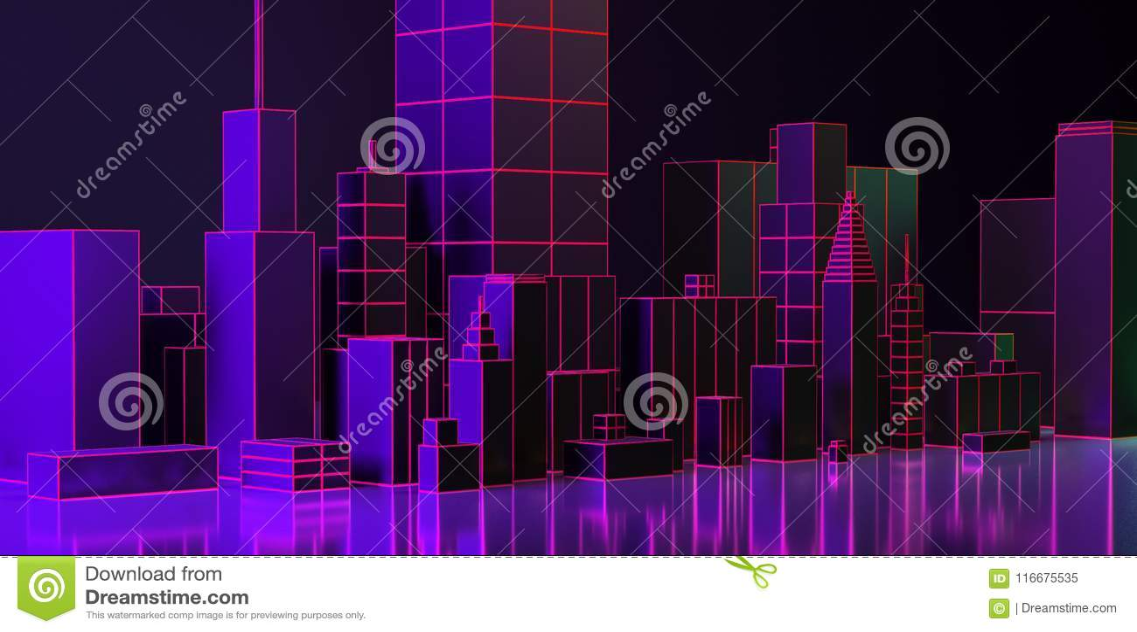 3D Illustratie De lay-out van de nachtstad met neongloed en levendige kleuren