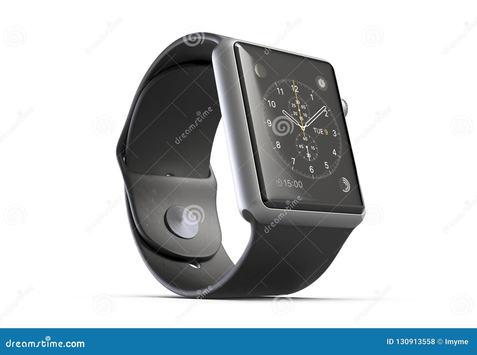3D illustratie Draadloos die Smart Watch op witte achtergrond wordt geïsoleerd