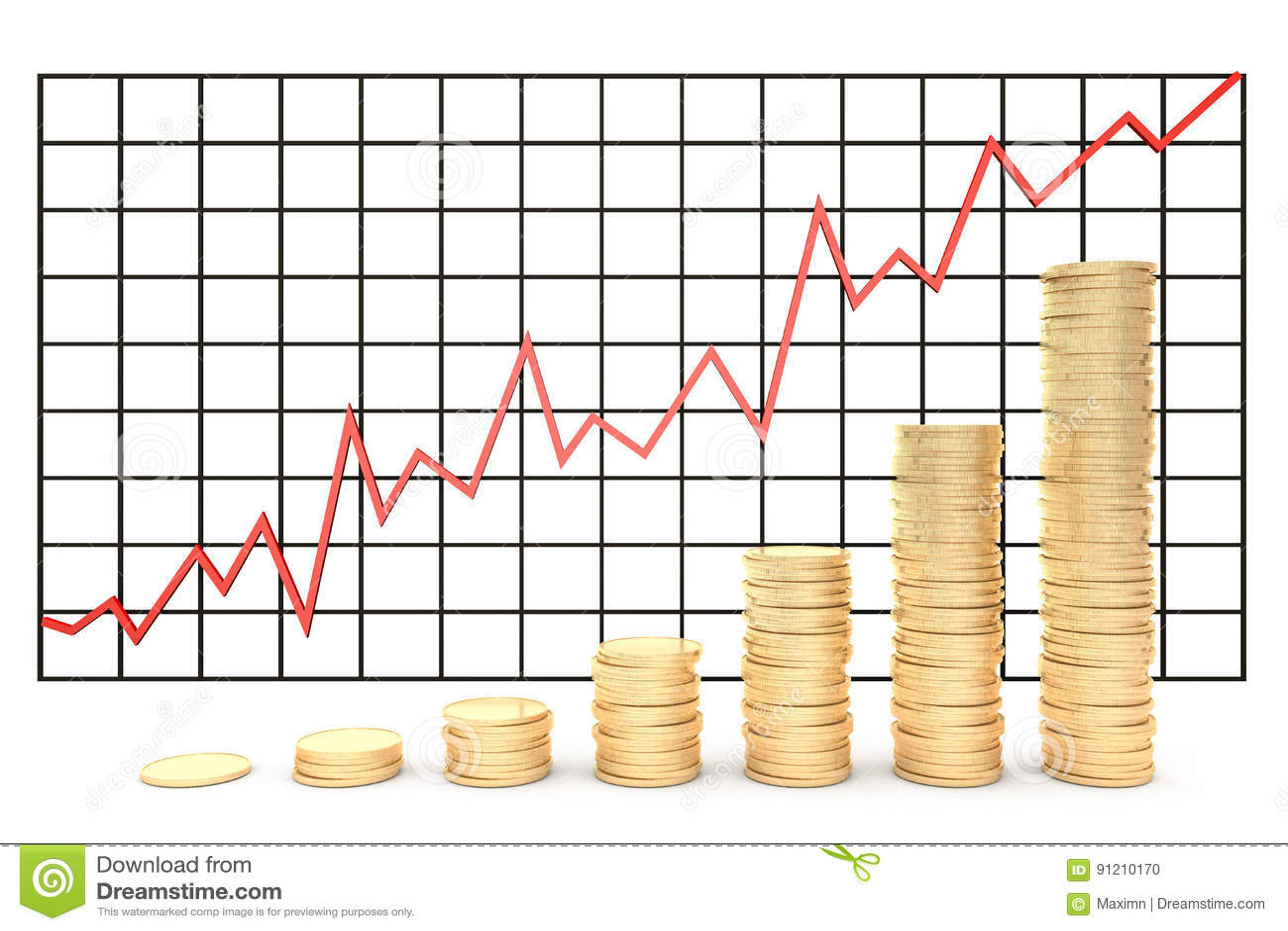 3d illustratie: Effectenbeurs van de de grafiekgrafiek van metaal de koper-gouden muntstukken met rode lijn - pijl op een witte g